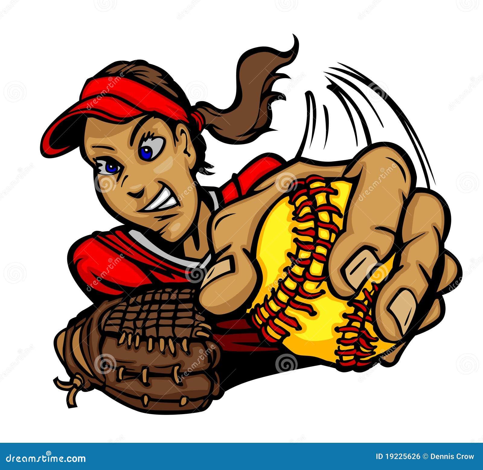 Fastpitch Softball Girl Cartoon Royalty Free Stock Image - Image ...