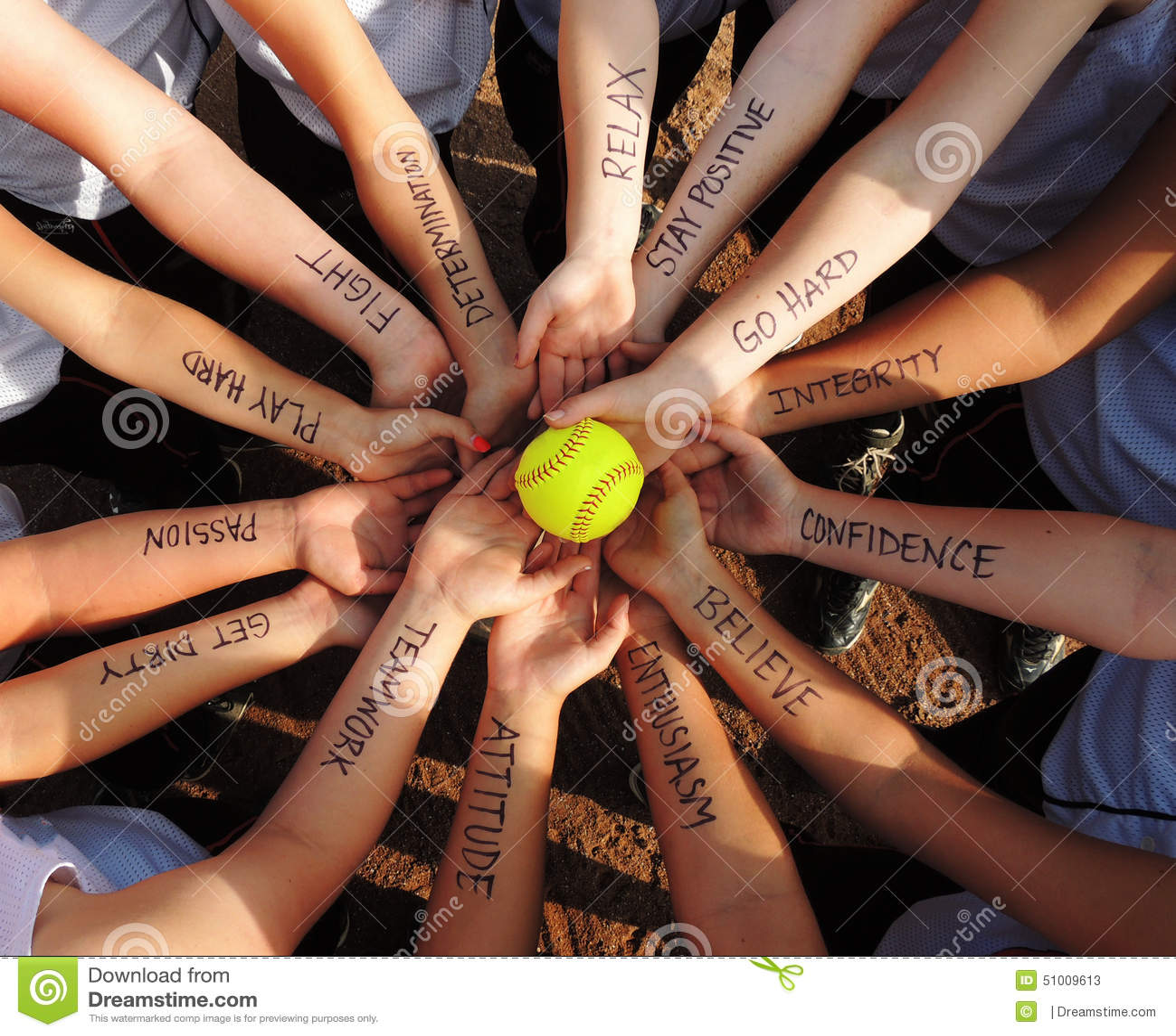 Fastpitch Softball Motivation Circle Stock Photo Image 51009613