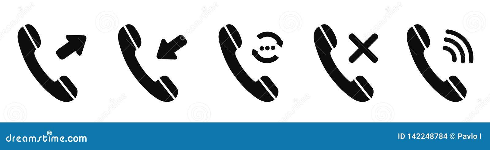 """Fastställd telefonsymbol för inkommande, utgående, felande väntande appell Svar och vektor för †för nedgångpåringningknappar """""""