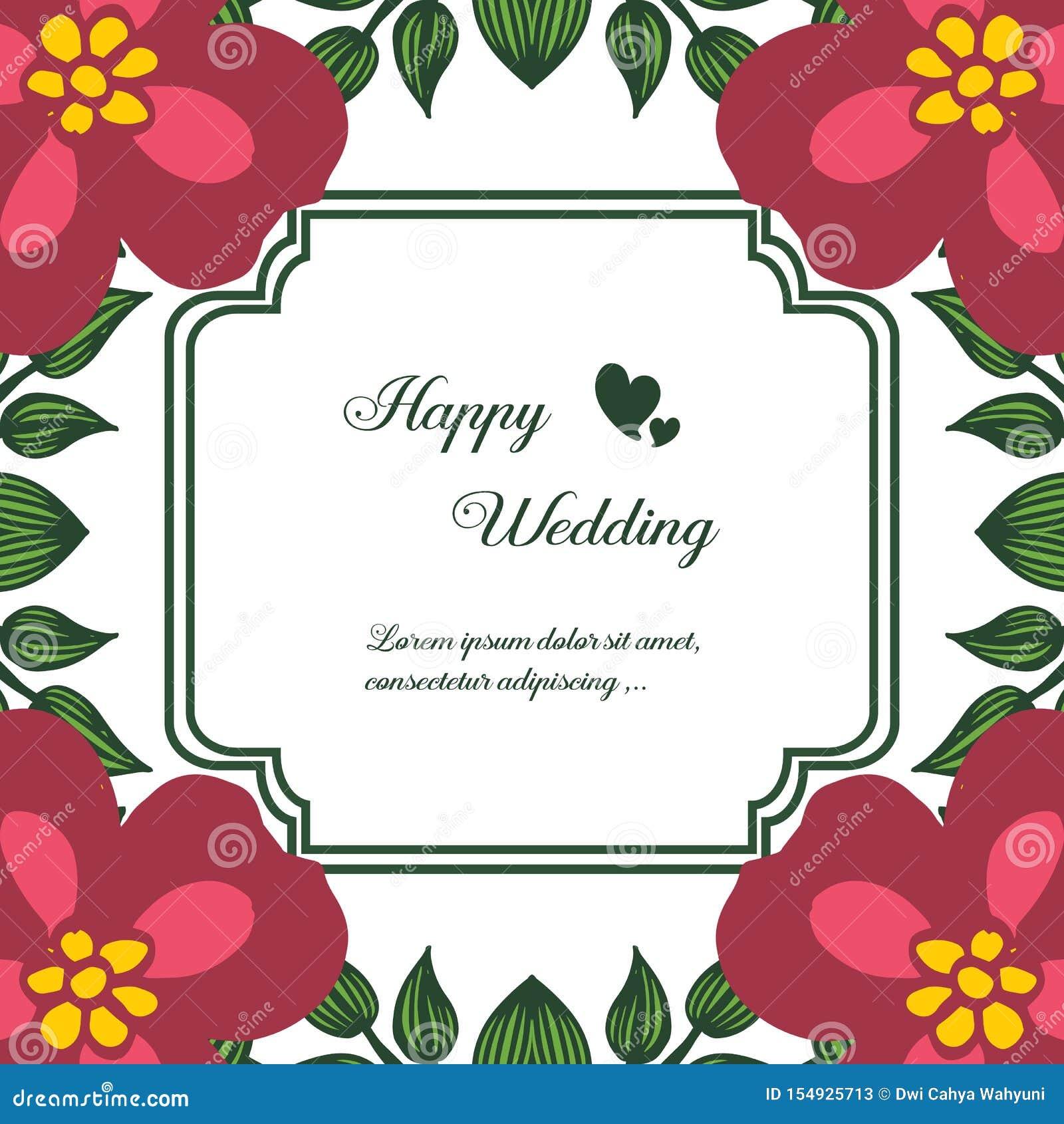 Fastställd abstrakt modellblommaram, design av lyckligt bröllop för kort vektor