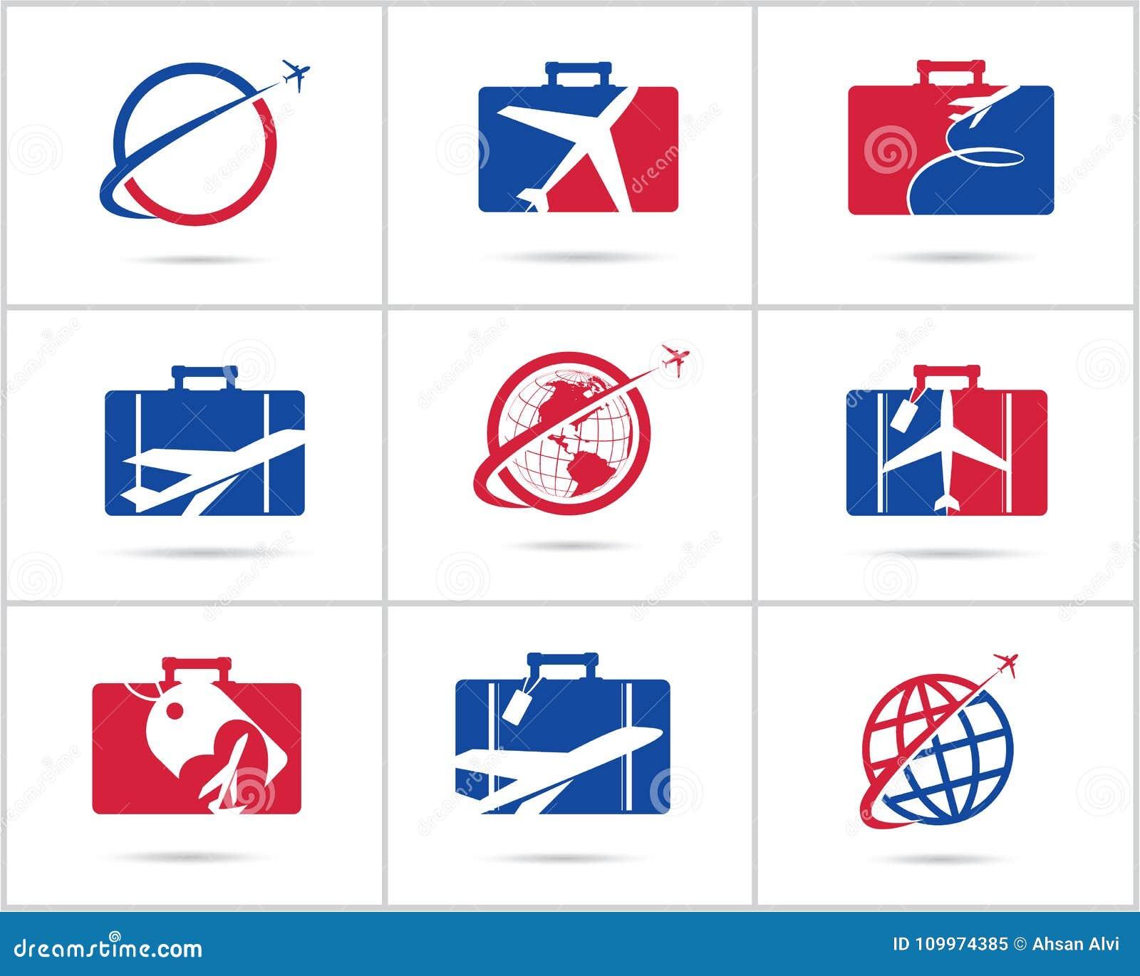 Fastställd design för lopplogoer Symboler för vektor för biljettbyrå och turism, flygplan i påse och jordklot Bagagepåselogoen, v