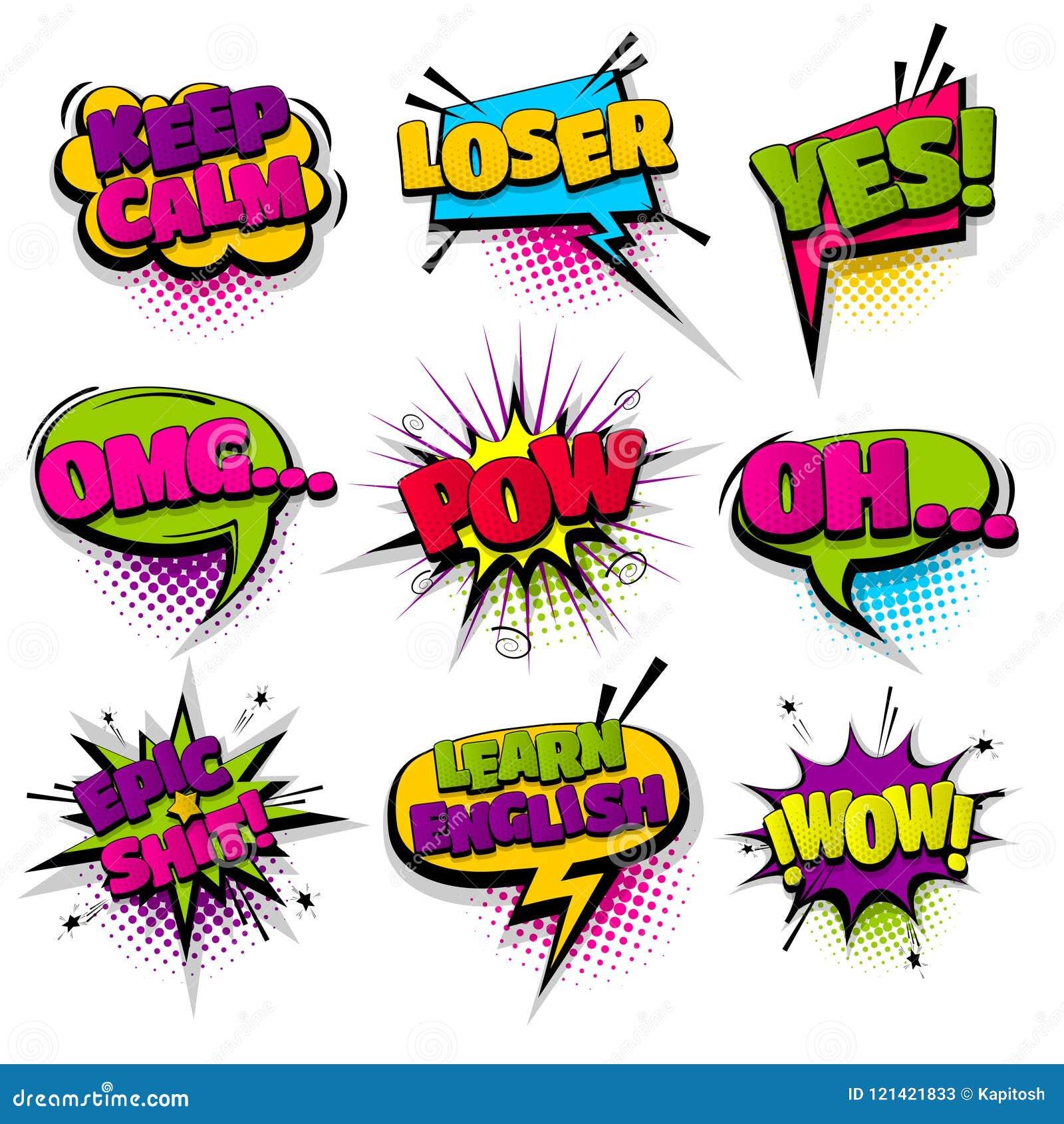 Fastställd hand drog komiska anförandebubblor för effekter
