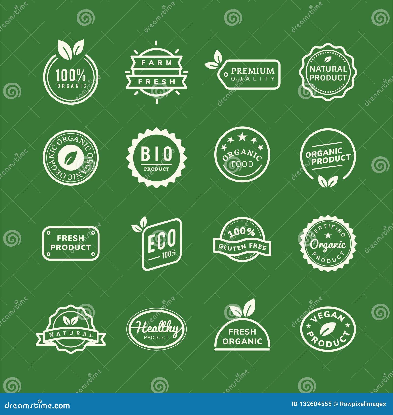 Fastställd illustration för organiska produktstämpelemblem