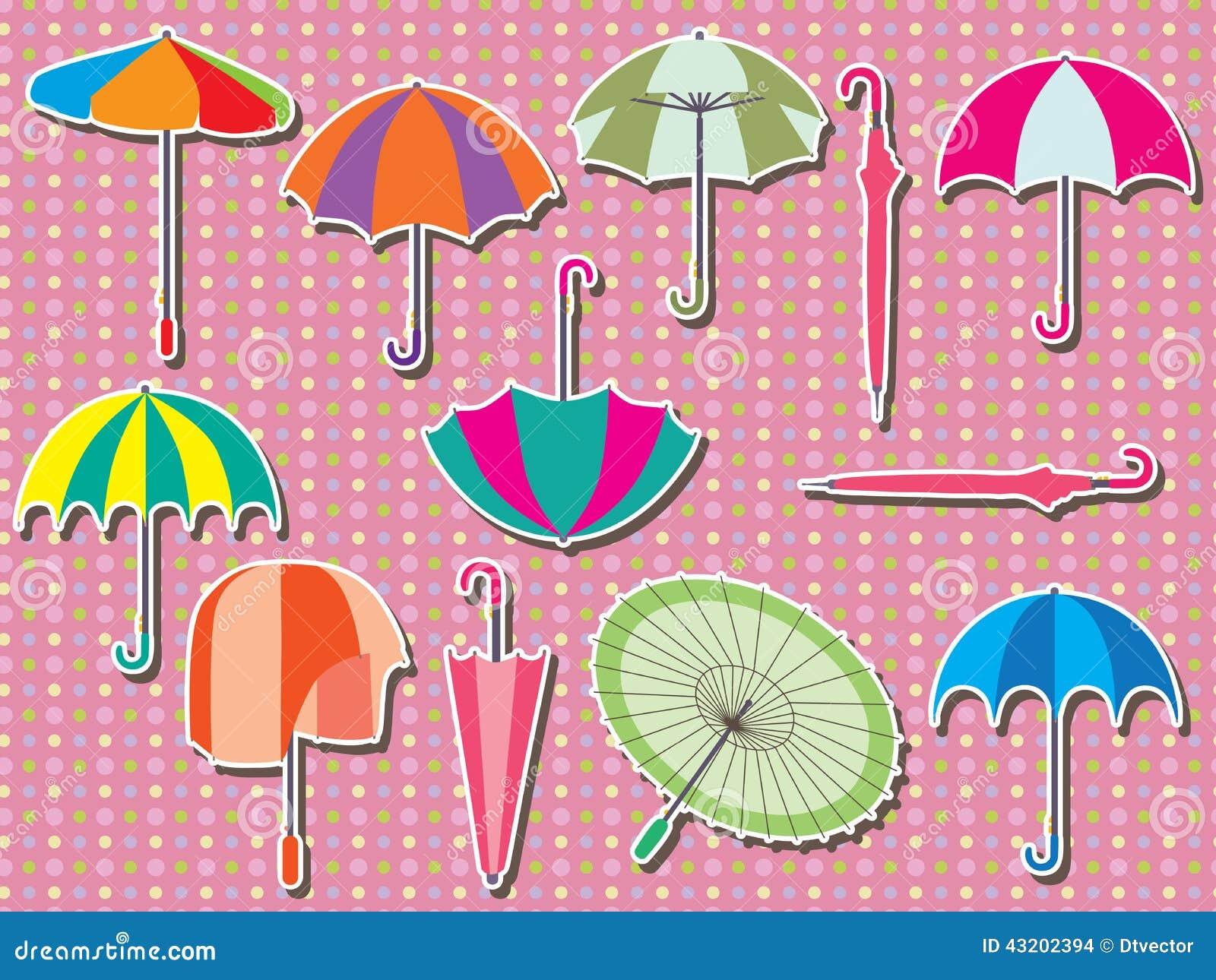 Download Fastställd Klistermärke För Paraply Vektor Illustrationer - Illustration av klimat, design: 43202394