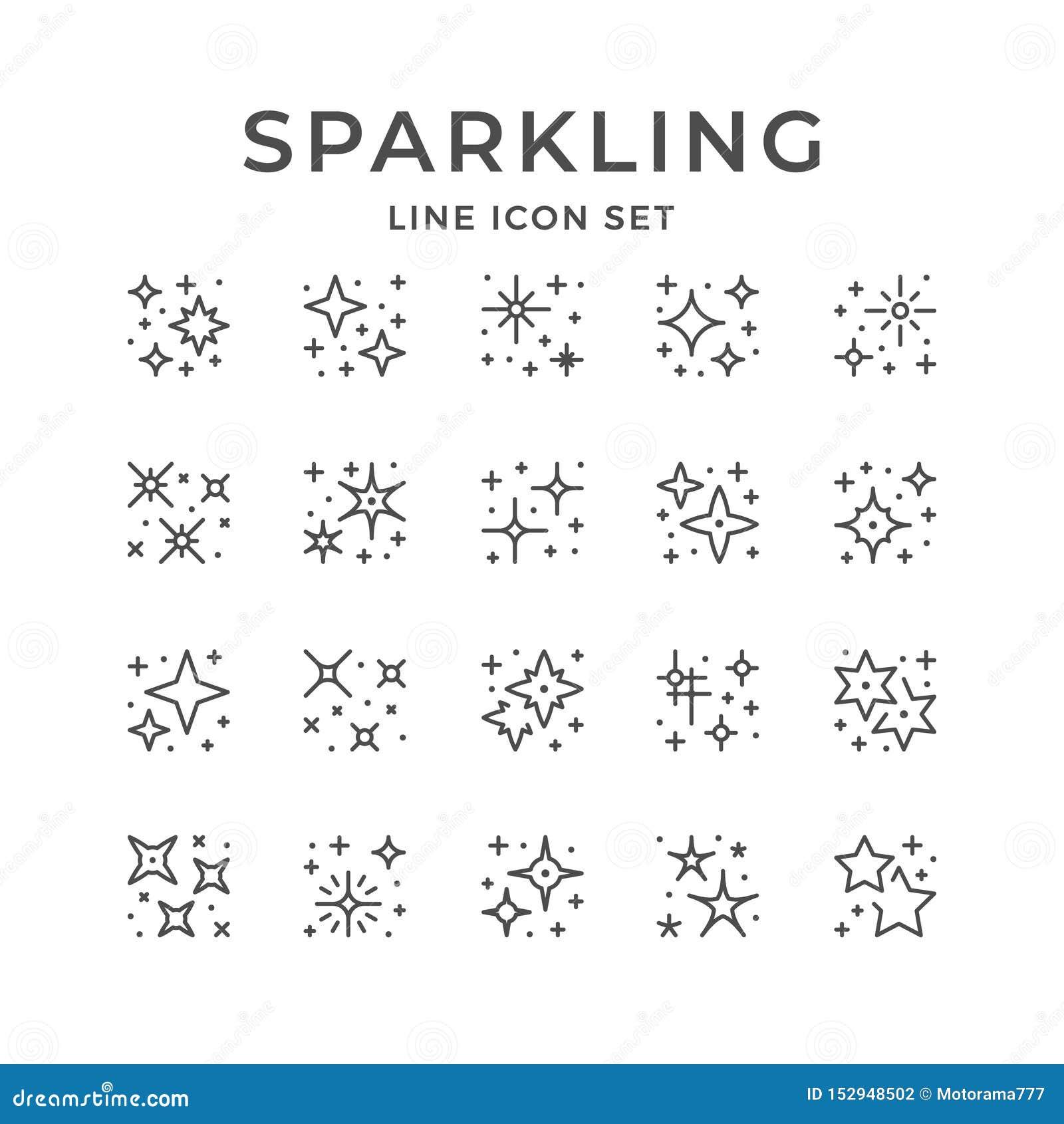 Fastställd linje symboler av att moussera och att blinka