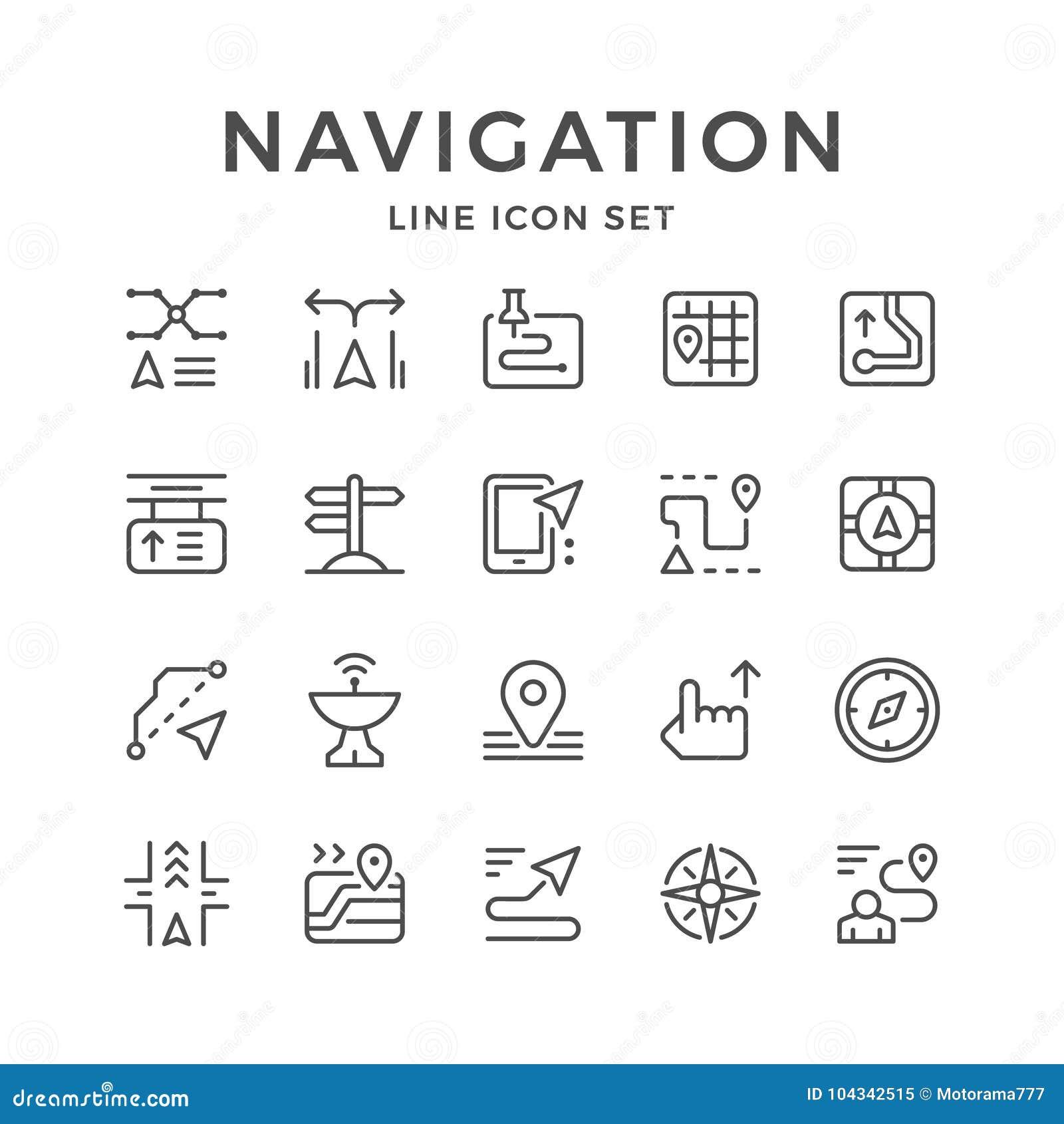 Fastställd linje symboler av navigering