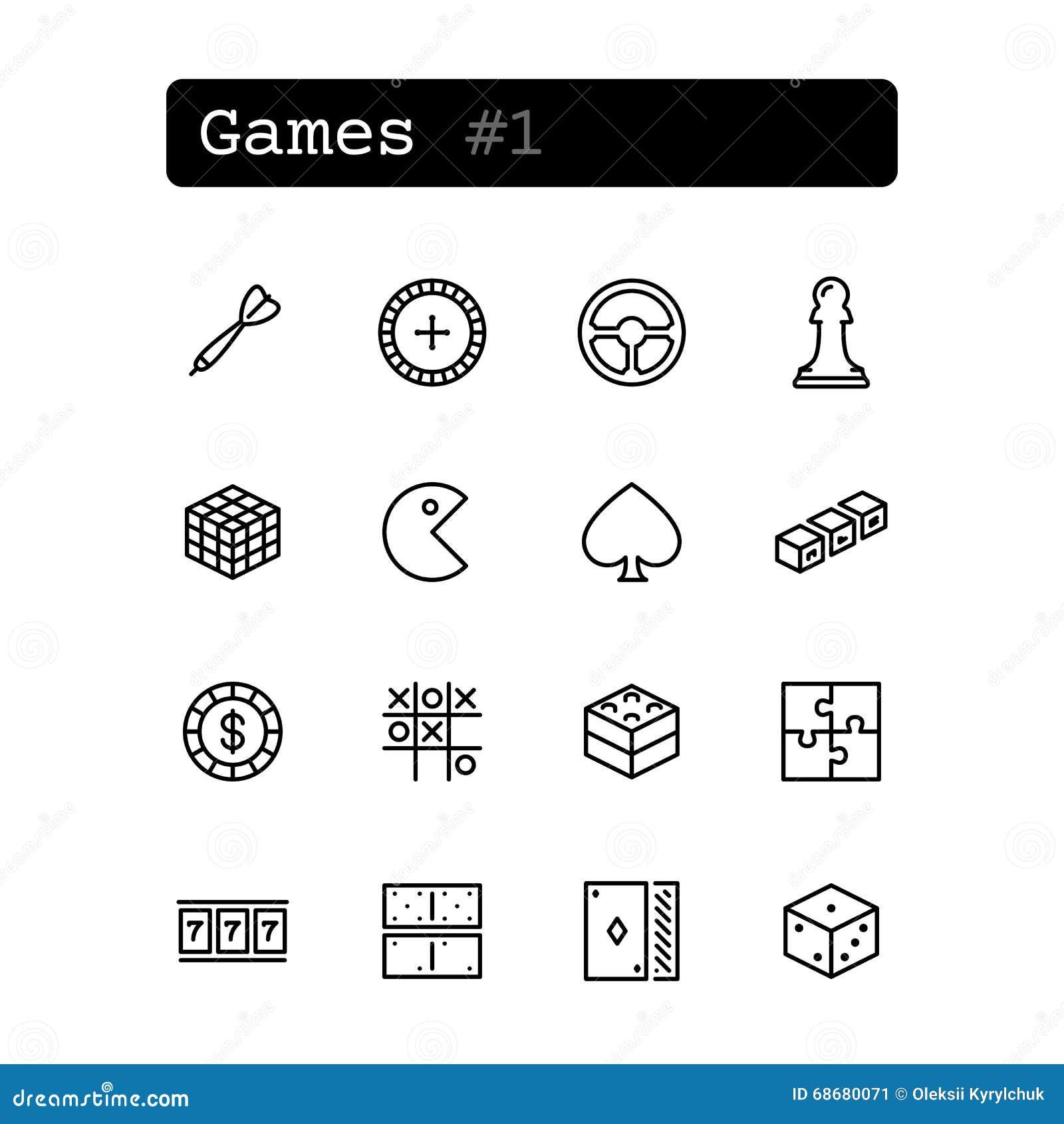 Fastställd linje symboler vektor Fritid lek