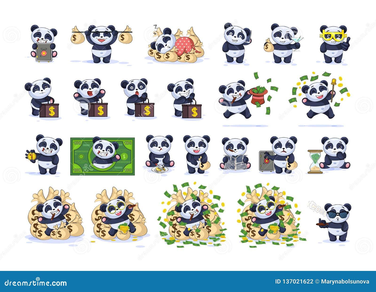 Fastställd panda för tecknad film för satssamlingsEmoji tecken