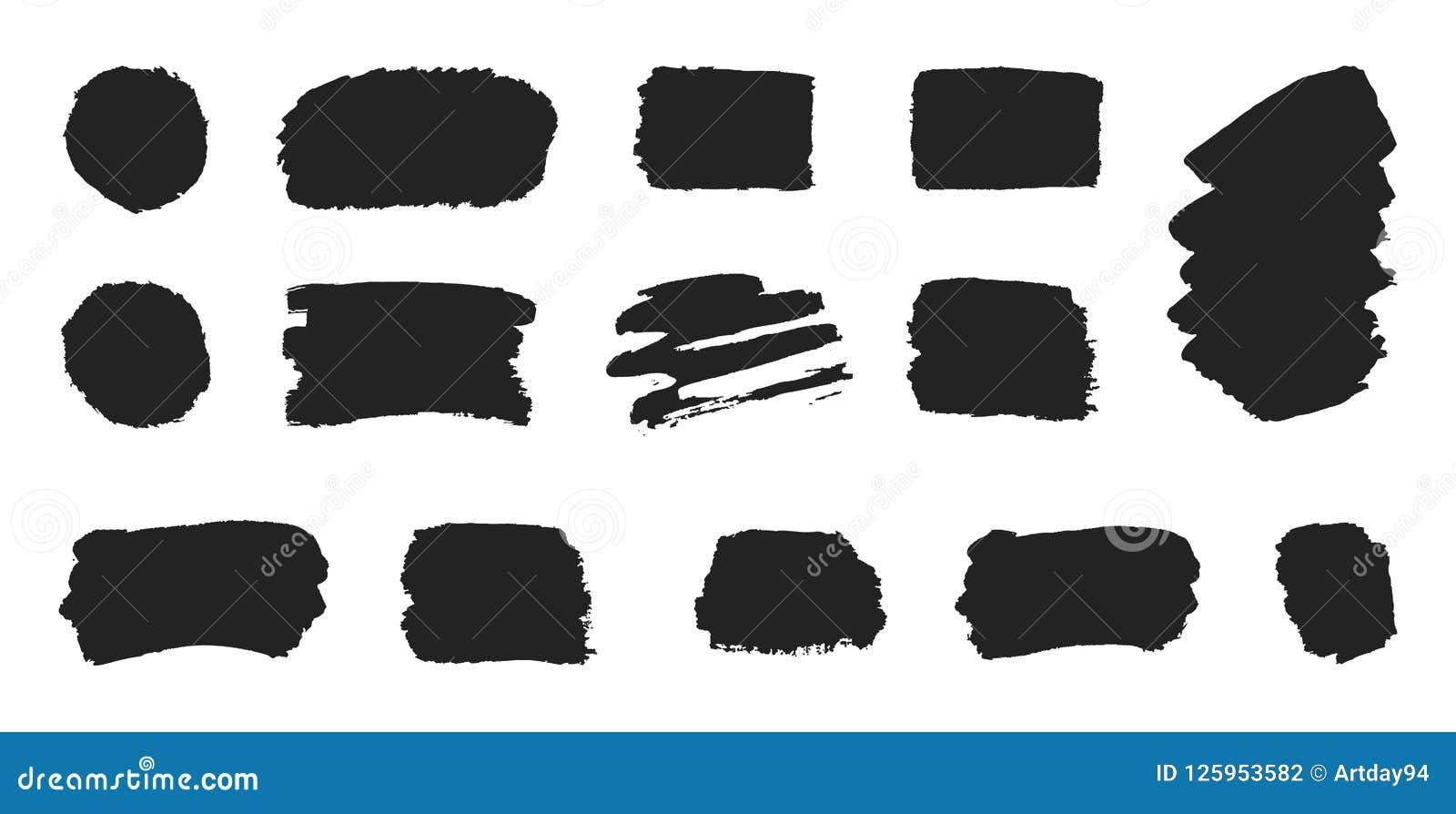 Fastställd svart målarfärg, färgpulverborsteslaglängder på vit bakgrund Grungesamlingslinje eller textur Målarpenseldesignbestånd
