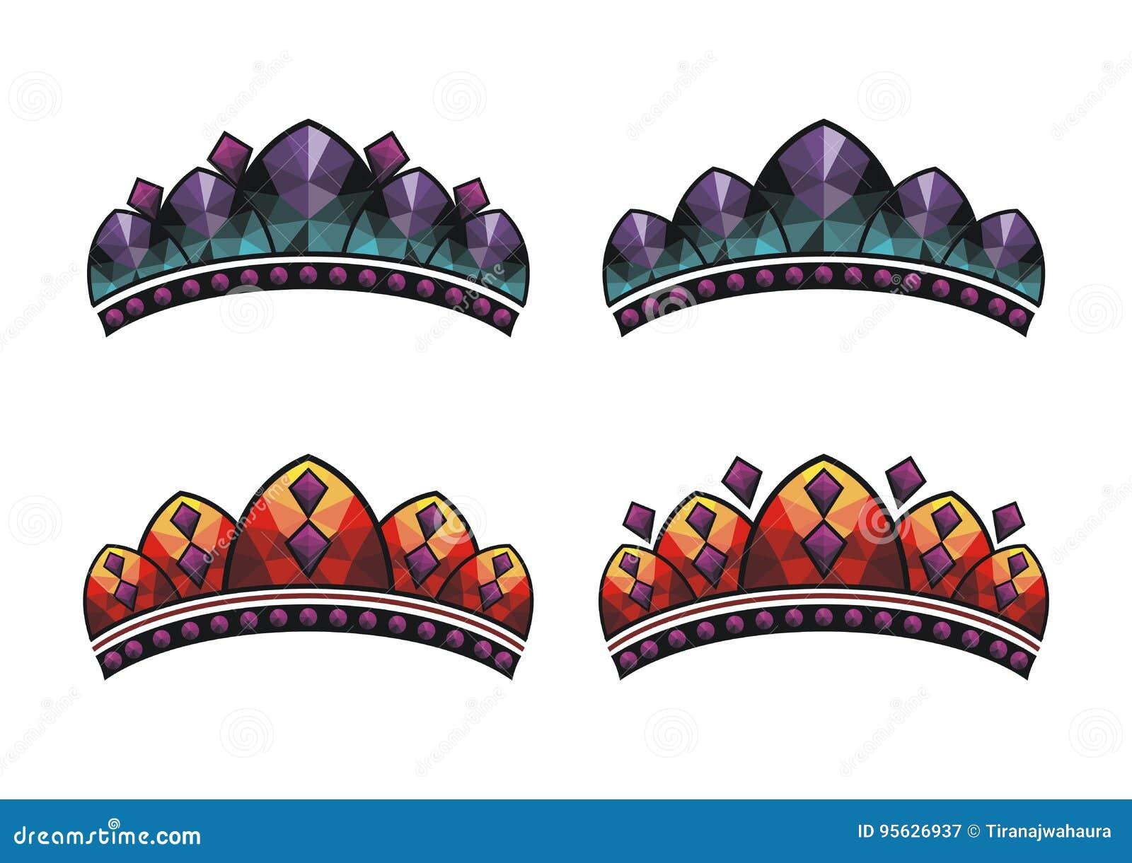 Fastställd vektorkonung för krona, drottning, prins, prinsessa