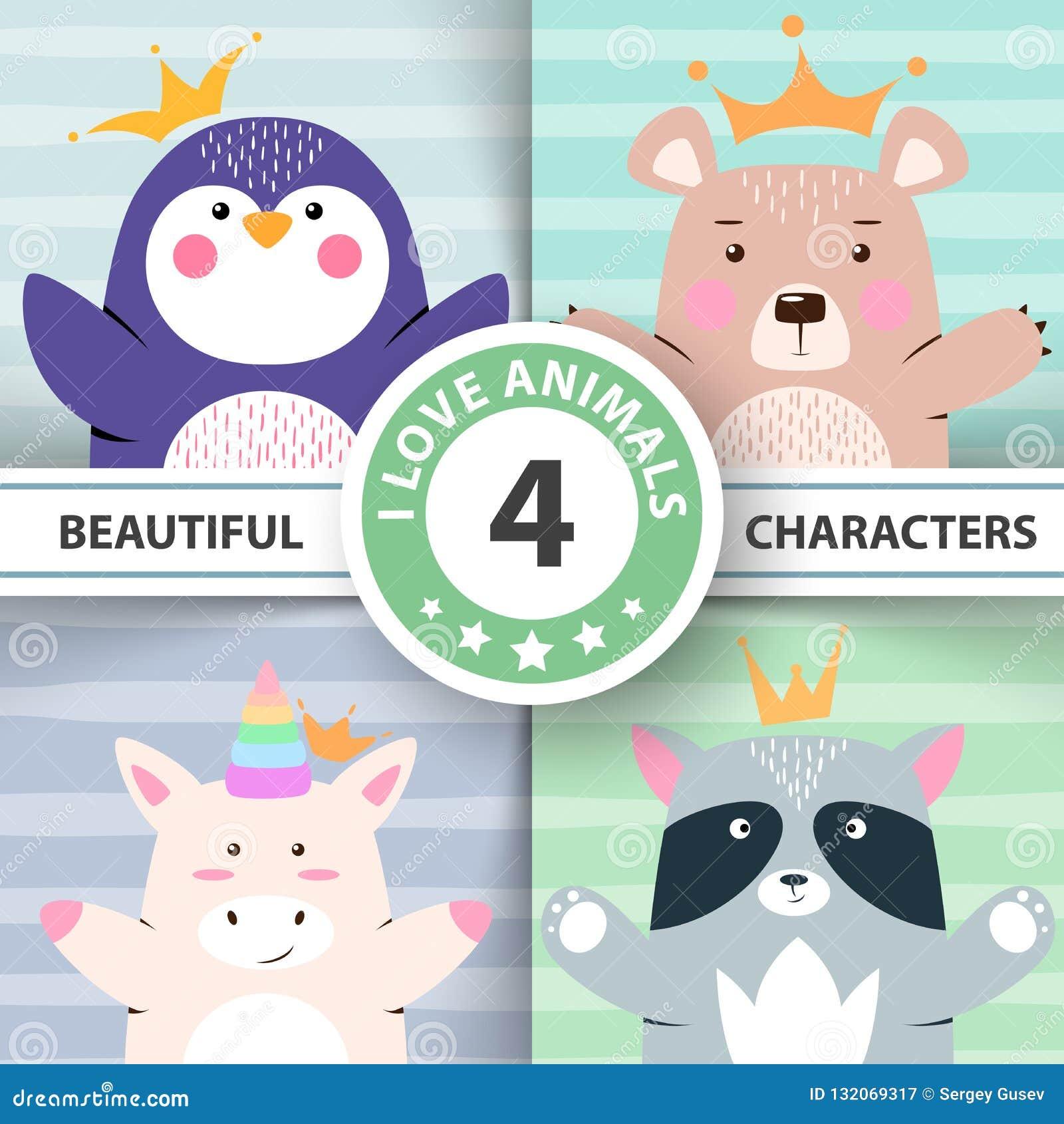 Fastställda djur för tecknad film - pingvin, björn, enhörning, tvättbjörn