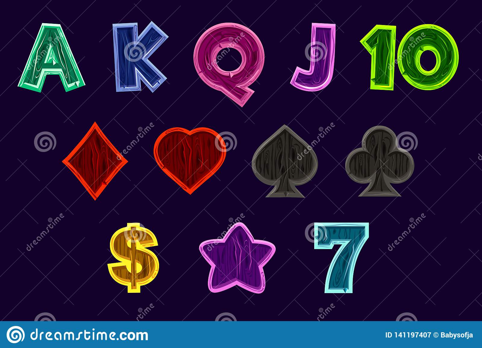 Fastställda enarmad banditsymboler Spela symboler av kortsymboler för enarmade banditer eller kasino i trätextur Modig kasino, sp