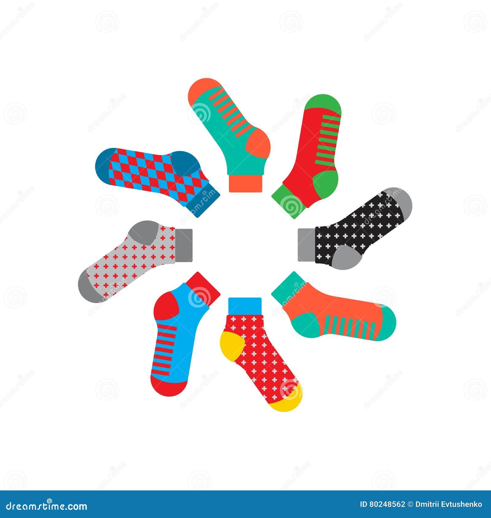 Fastställda färgrika sockor