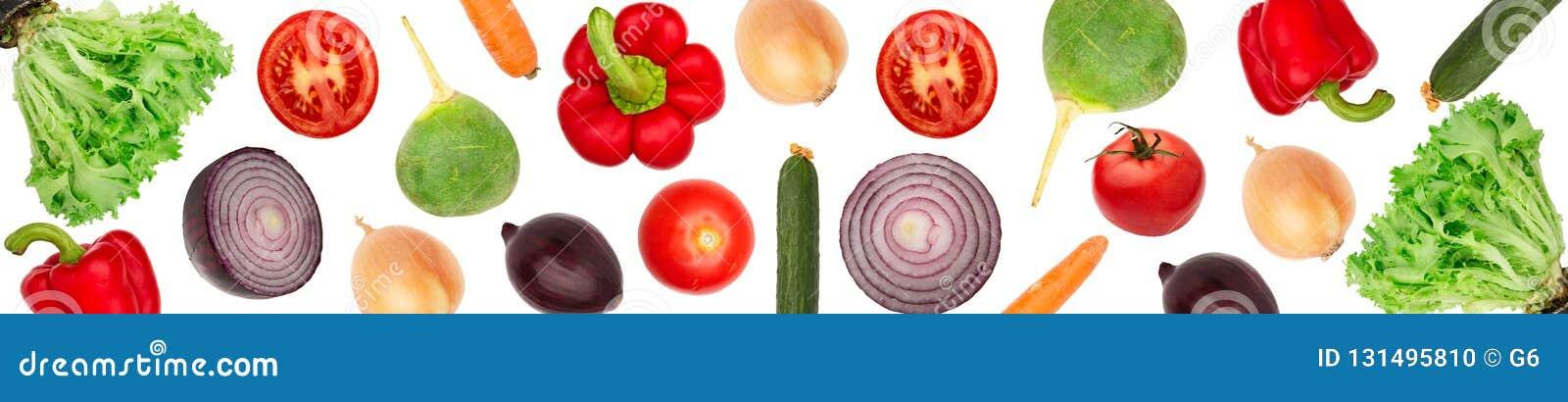 Fastställda grönsaker isolerade vit bakgrund Brett panorama- foto
