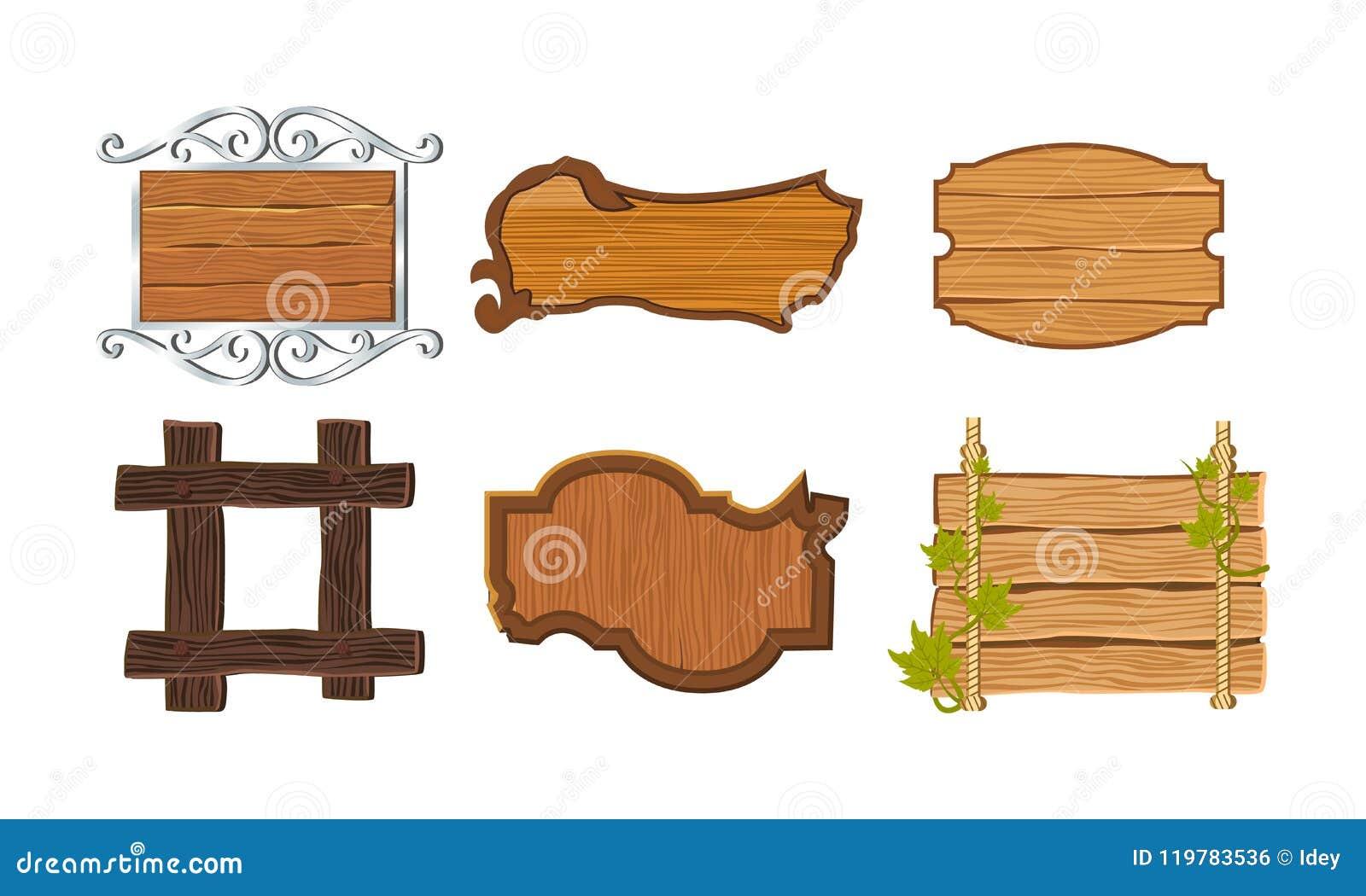Fastställda olika sorter av träskyltar med ramar, dekorativa beståndsdelar