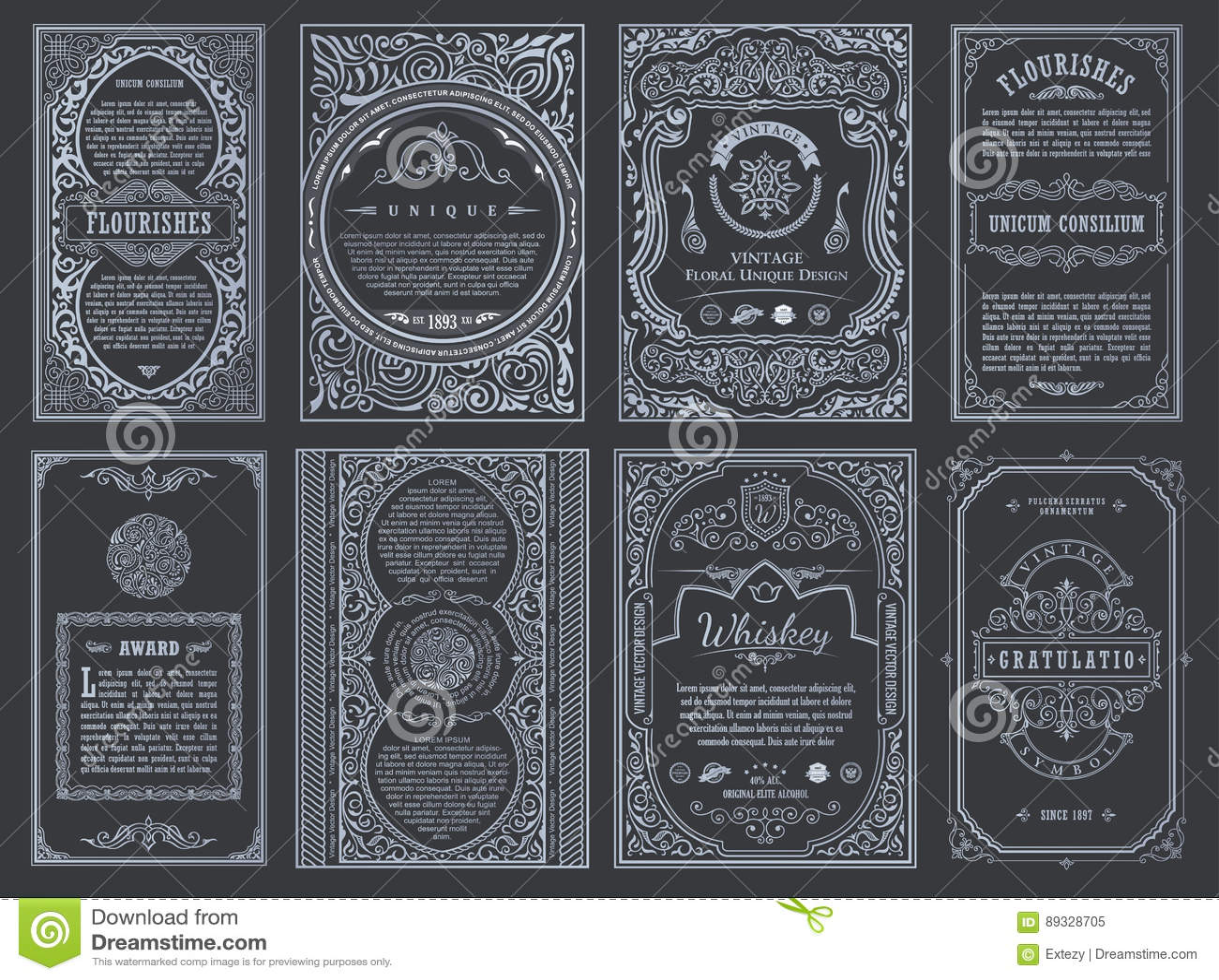 Fastställda retro kort för tappning Inbjudan för bröllop för mallhälsningkort Linje calligraphic ramar