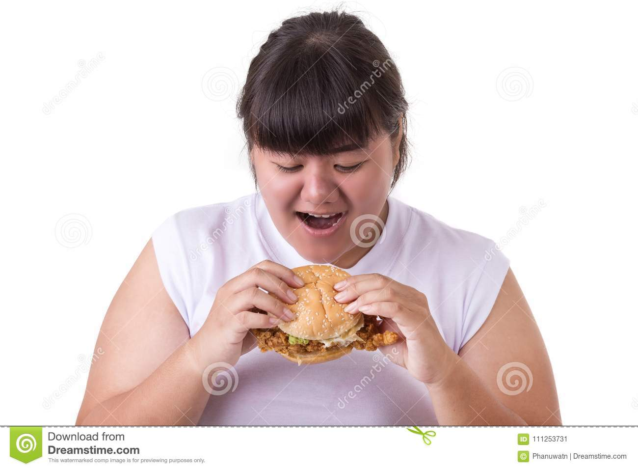 Fat asian woman eating fried chicken hamburger isolated on white