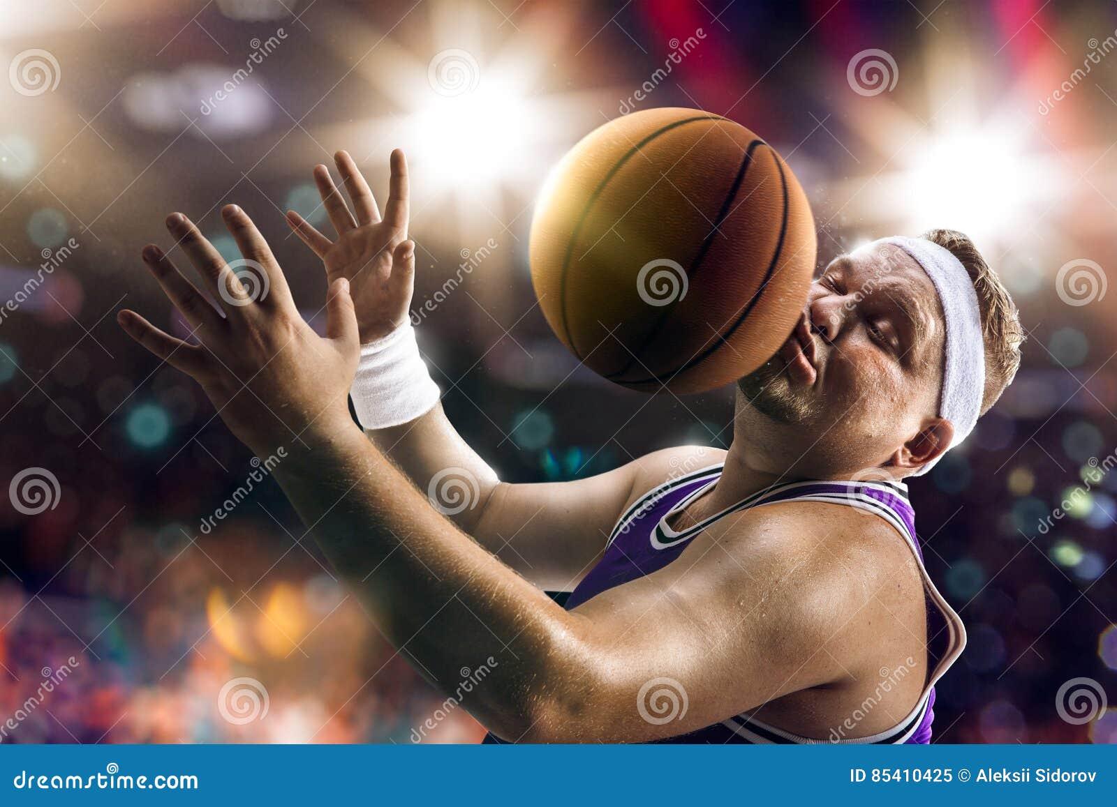 Fat Basketball non professional player catch the balln
