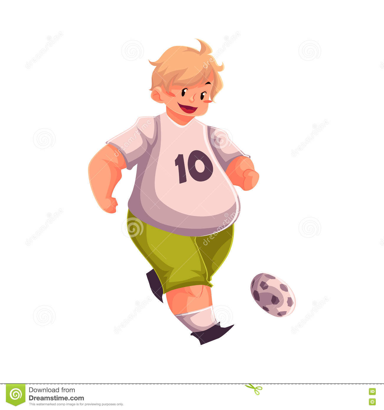 Download Fat Boy Playing Football Getting Fit Active Lifestyle Stock Vector