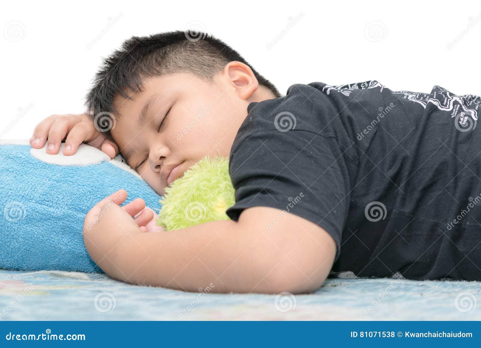 Fat boy sleep on white