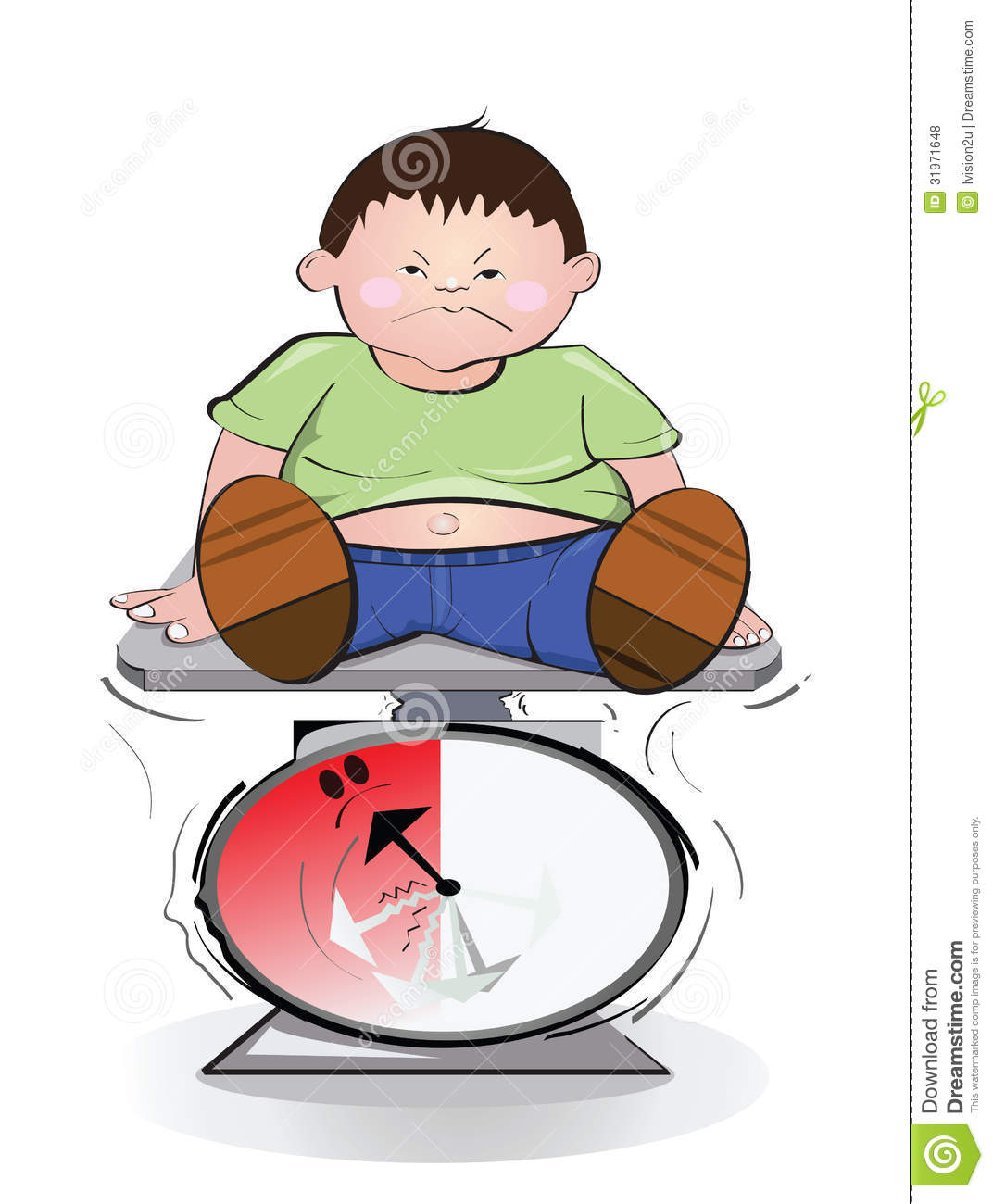 Fat Boy And Weight Scale  Royalty Free Stock Photos