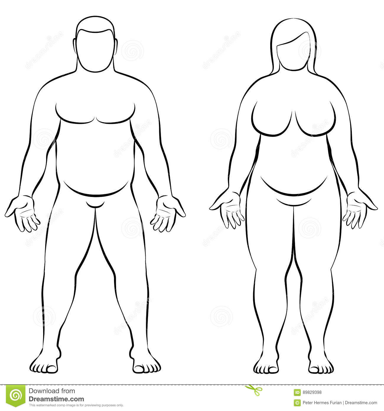 Fat Couple Overweight Man Woman Body Frontal View Illustration Stock