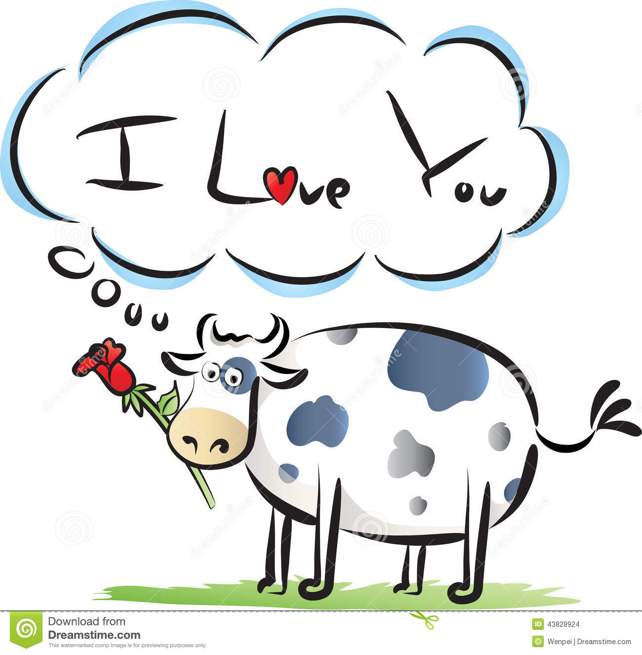 fat cow say i love you stock illustration illustration of animals rh dreamstime com I Love You This Much Clip Art I Love You Art Clip Silly