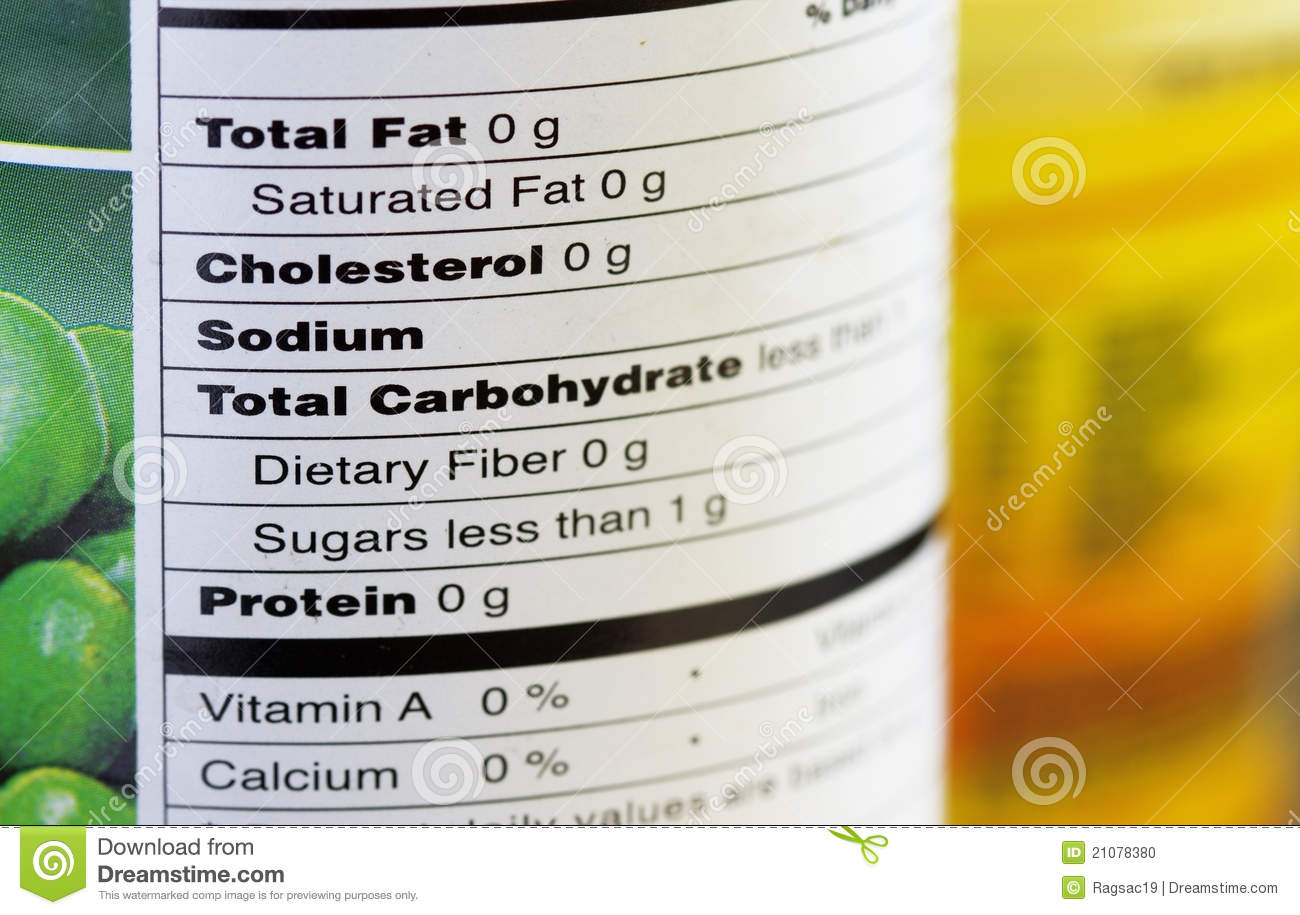 Fat-free Food Labeling, Macro Stock Photo - Image: 21078380