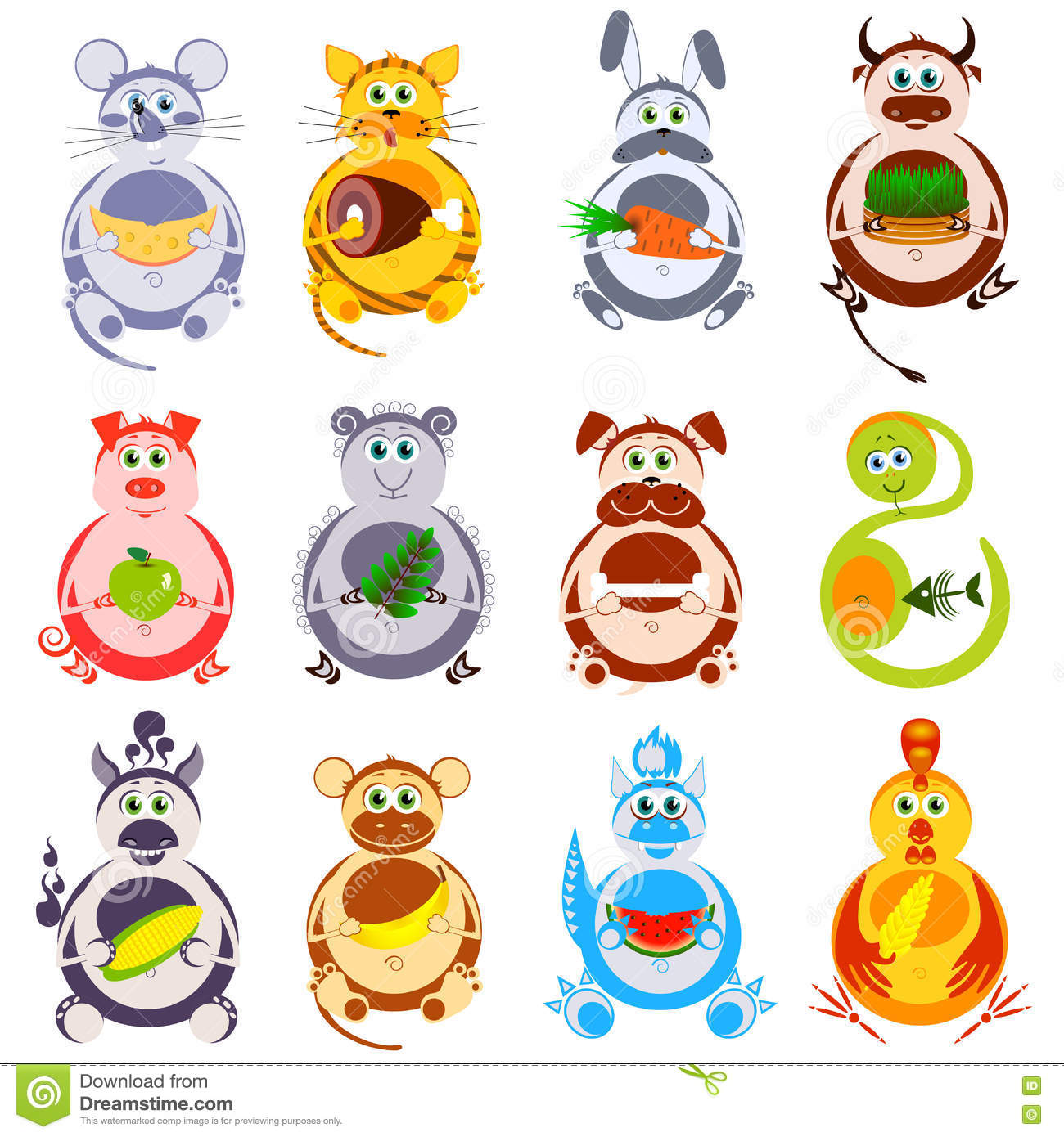 Fat funny animals set with their favorite food decorative heroes of chinese horoscope isolation on a white background