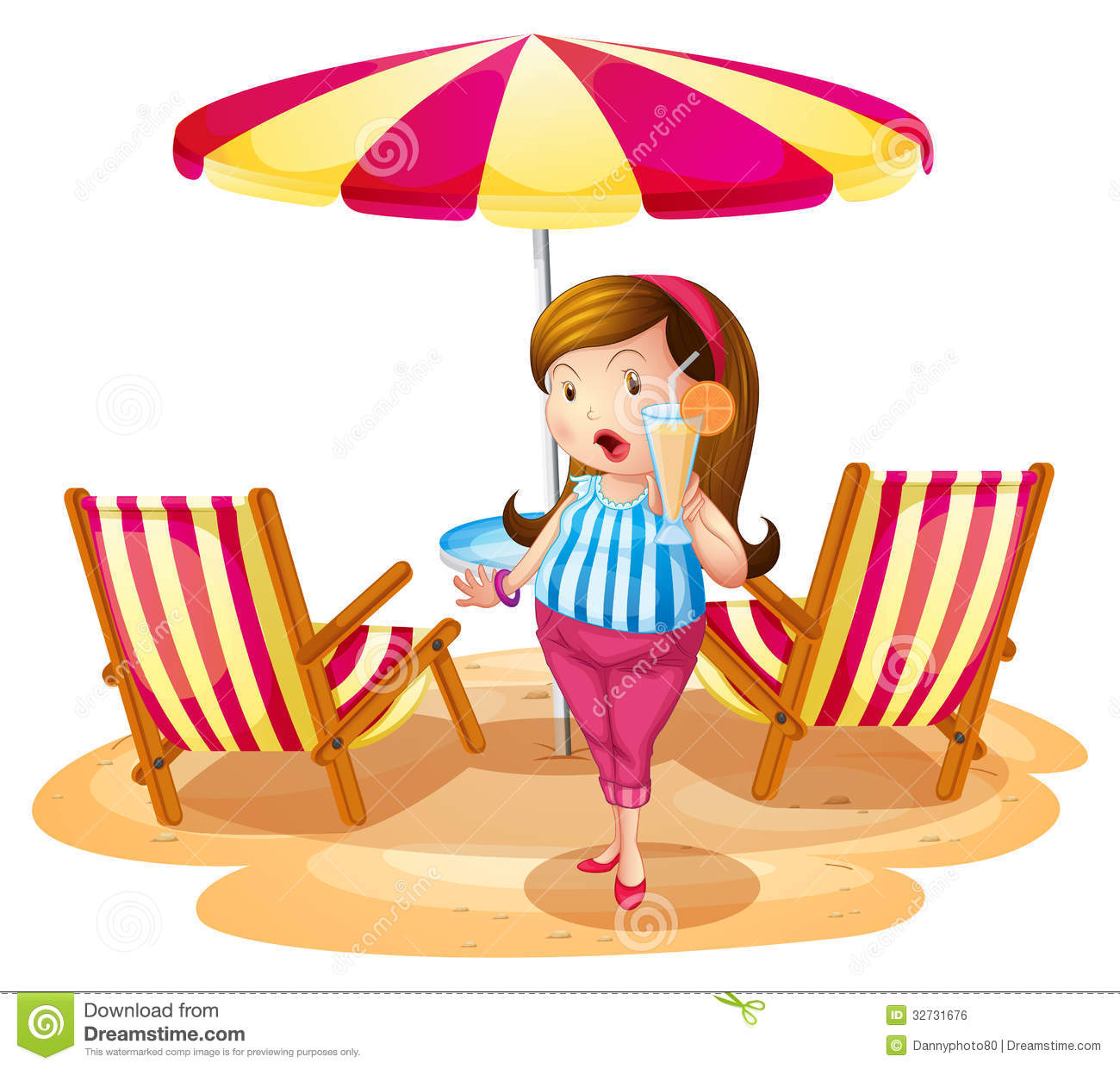 Beach umbrella and chair - A Fat Girl Holding A Juice Near The Beach Umbrella With Chairs