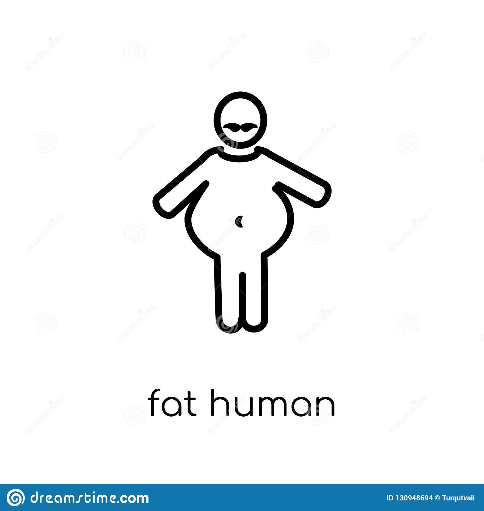 fat human icon. Trendy modern flat linear vector fat human icon