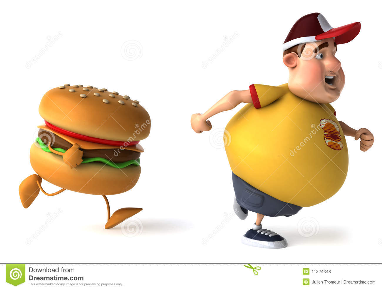 Fat Kid And Hamburger Royalty Free Stock Photos Image