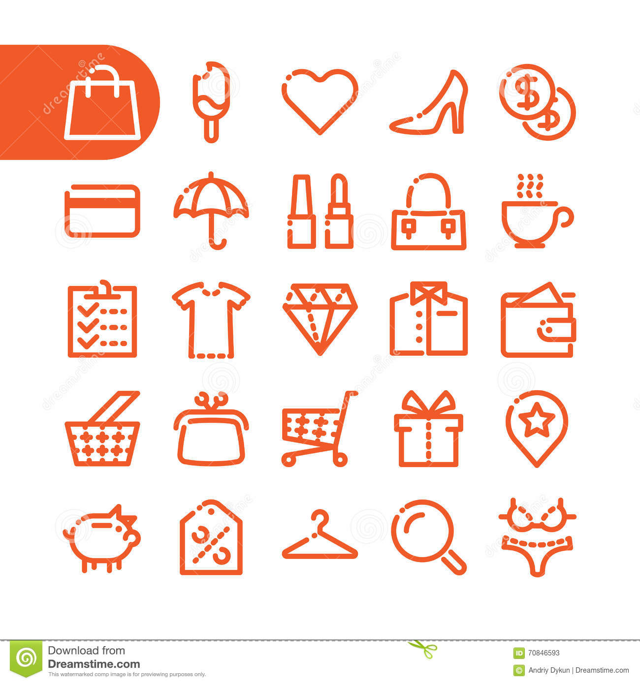 Fat Line Icons Stock Vector. Image Of Retail, Label
