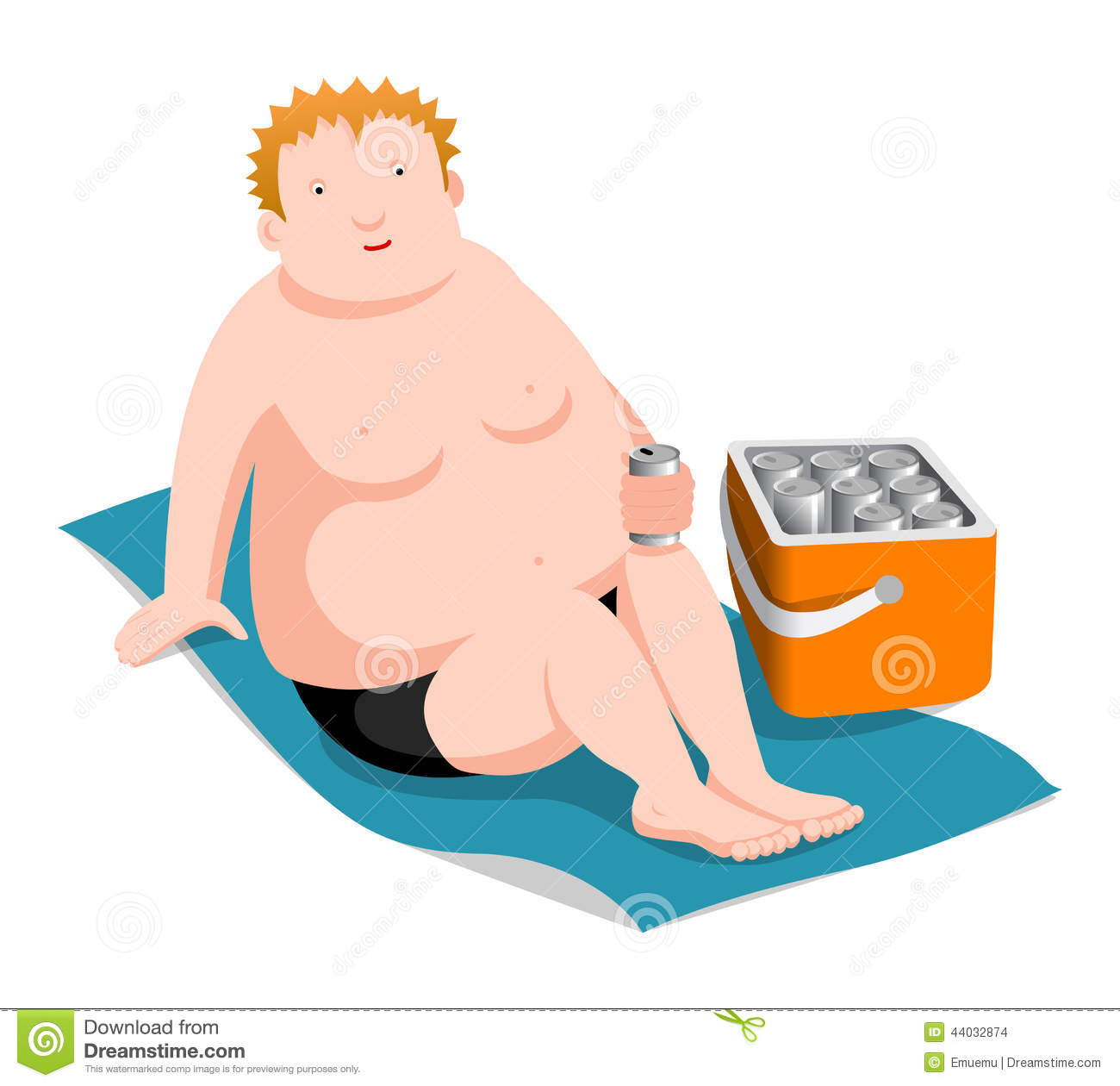 Fat Man On The Beach Stock Vector Illustration Of Party -3763