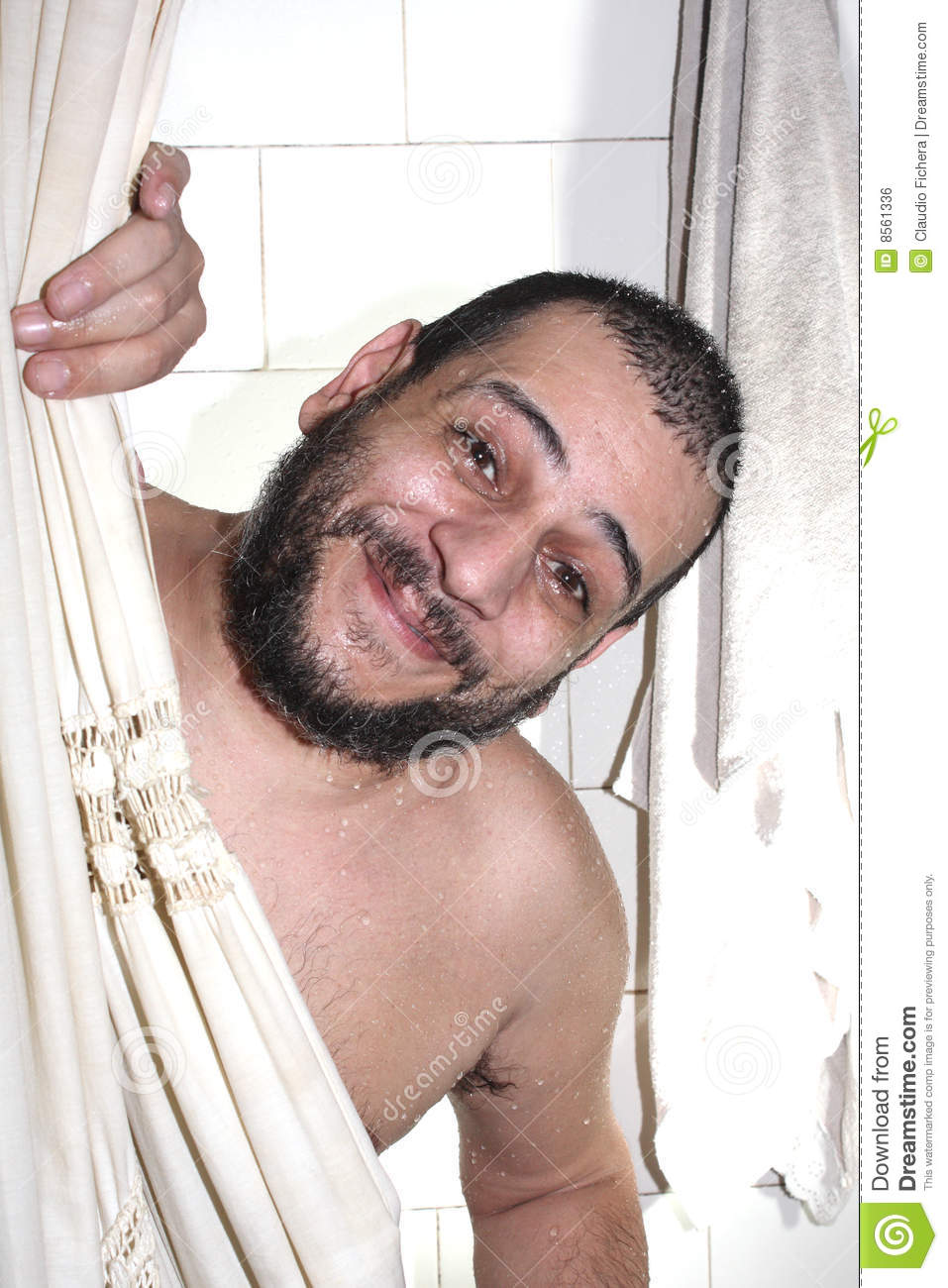Fat Man With A Beard In The Shower Royalty Free Stock