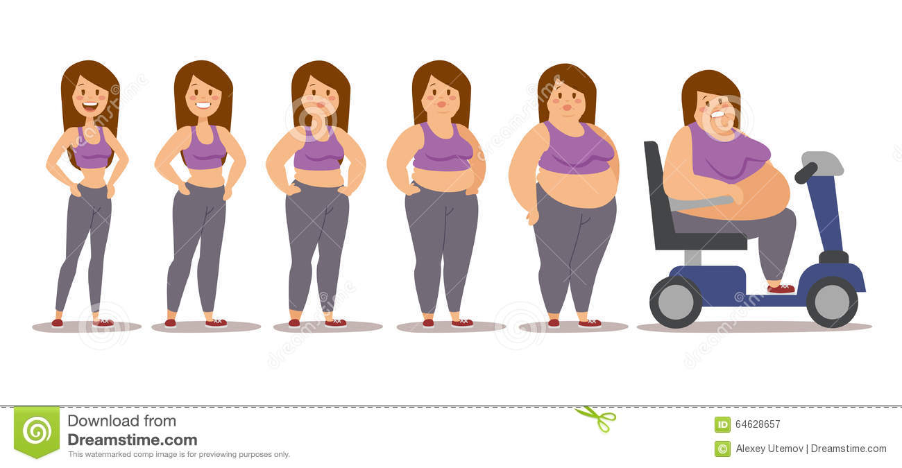 Fat Man Cartoon Style Different Stages Vector Cartoon ...