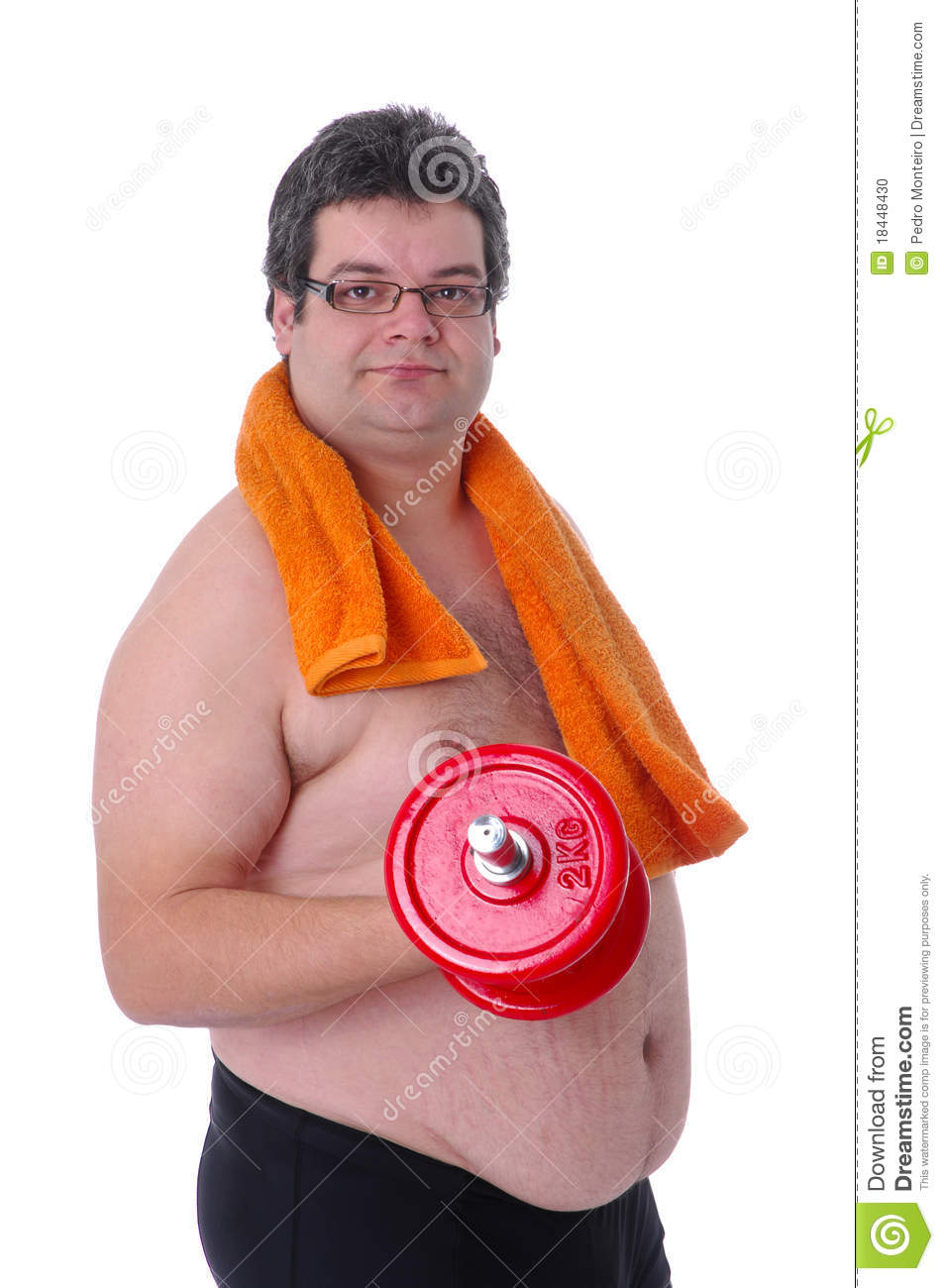 Fat Man Doing Workout With Dumbbells Stock Photo - Image ...
