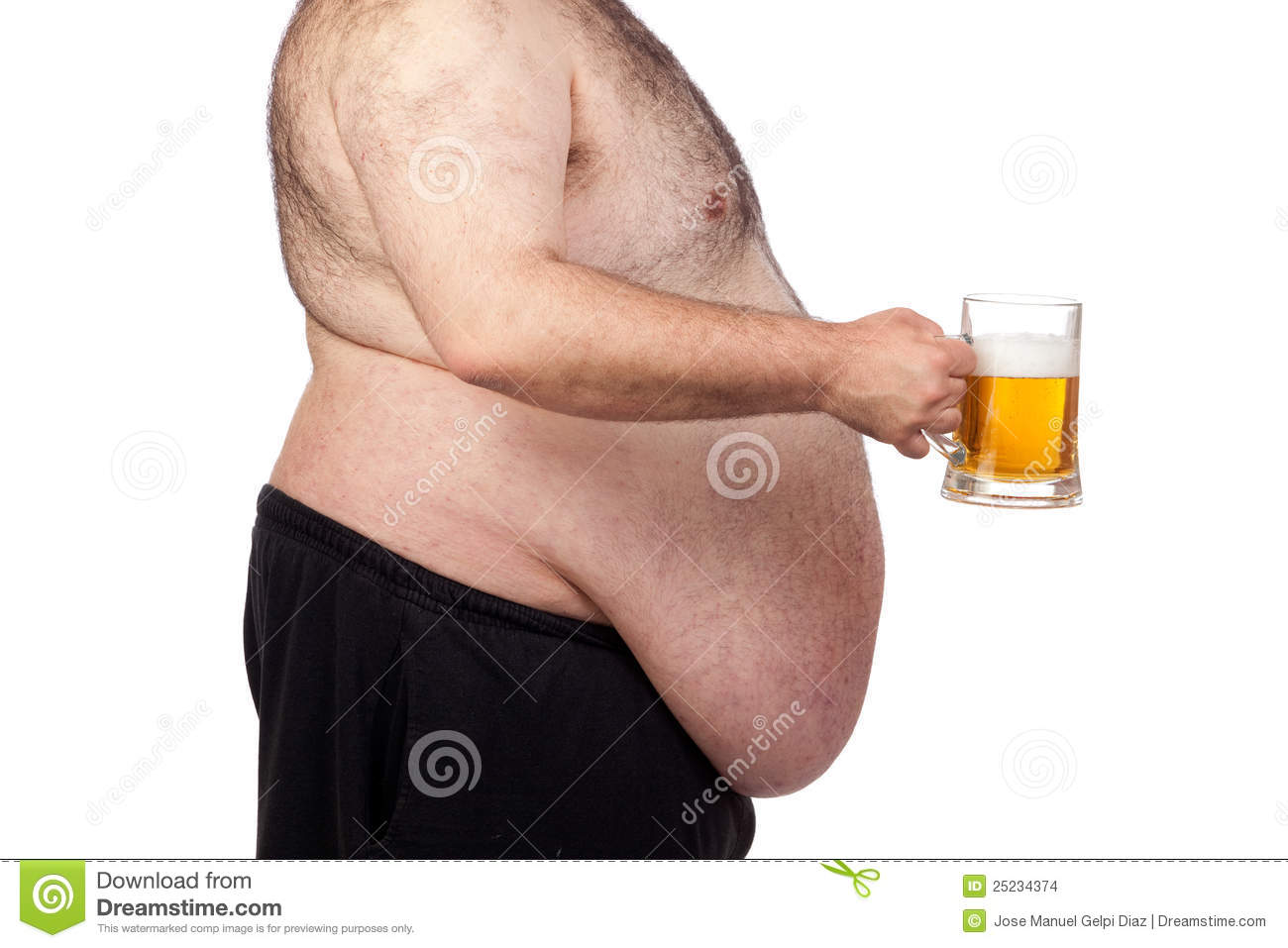 Fat Man Drinking A Jar Of Beer Stock Photo - Image: 25234374