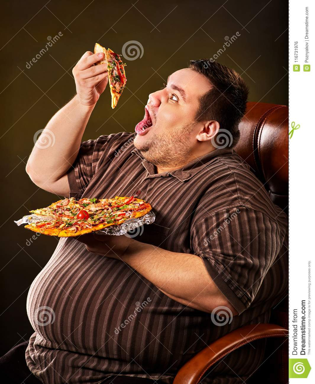 Fat Man Eating Fast Food Slice Pizza Breakfast For Overweight Person Stock Photo Image Of Obese Snacks 116731976