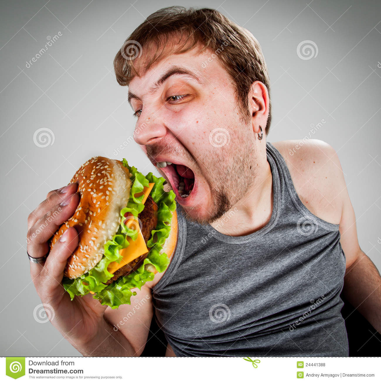 Fat Man Eating Hamburger Royalty Free Stock Photos - Image: 24441388