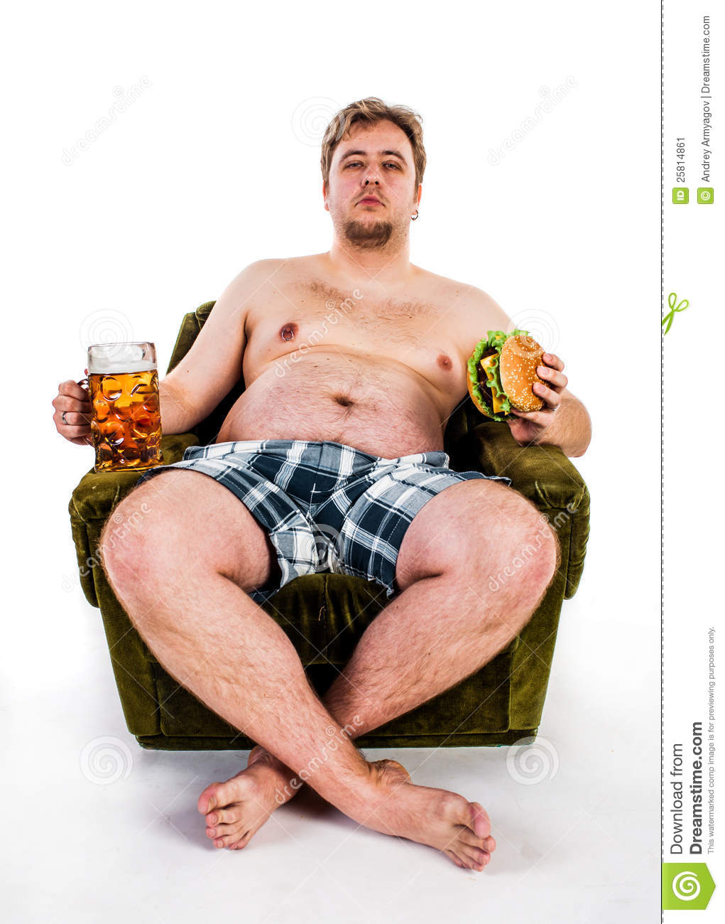 Fat Man Eating Hamburger Stock Image - Image: 25814861