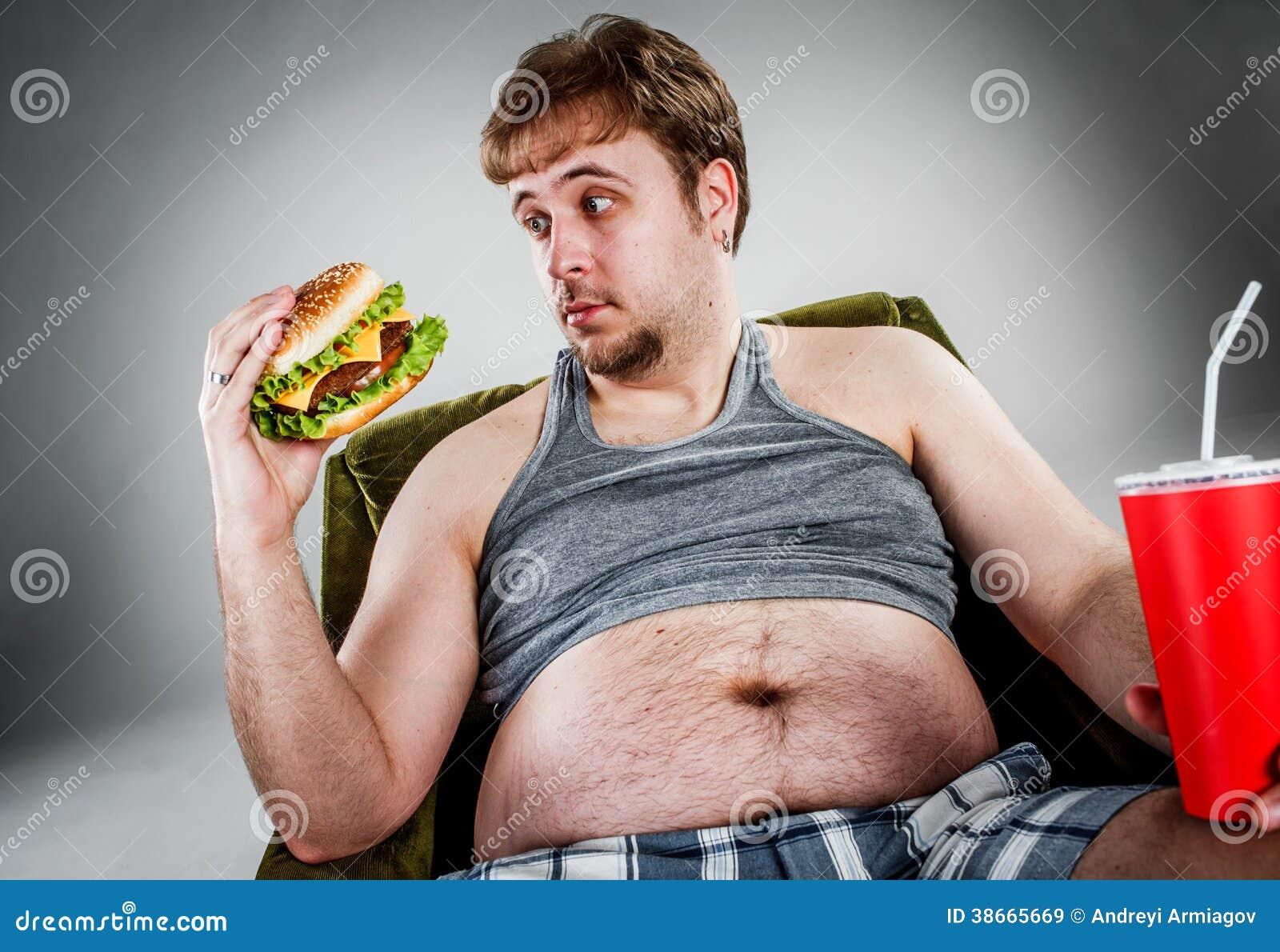 fat man eating hamburger royalty free stock images   image