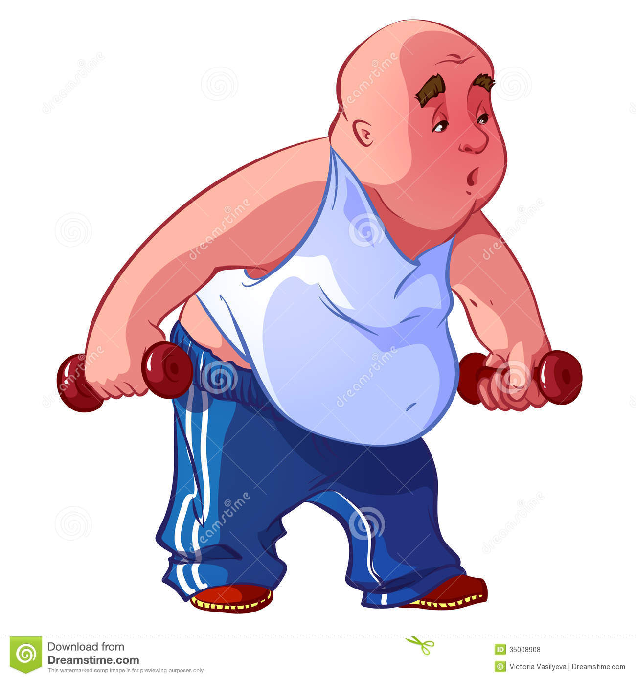 Funny Fat Man Funny fat man with dumbbells