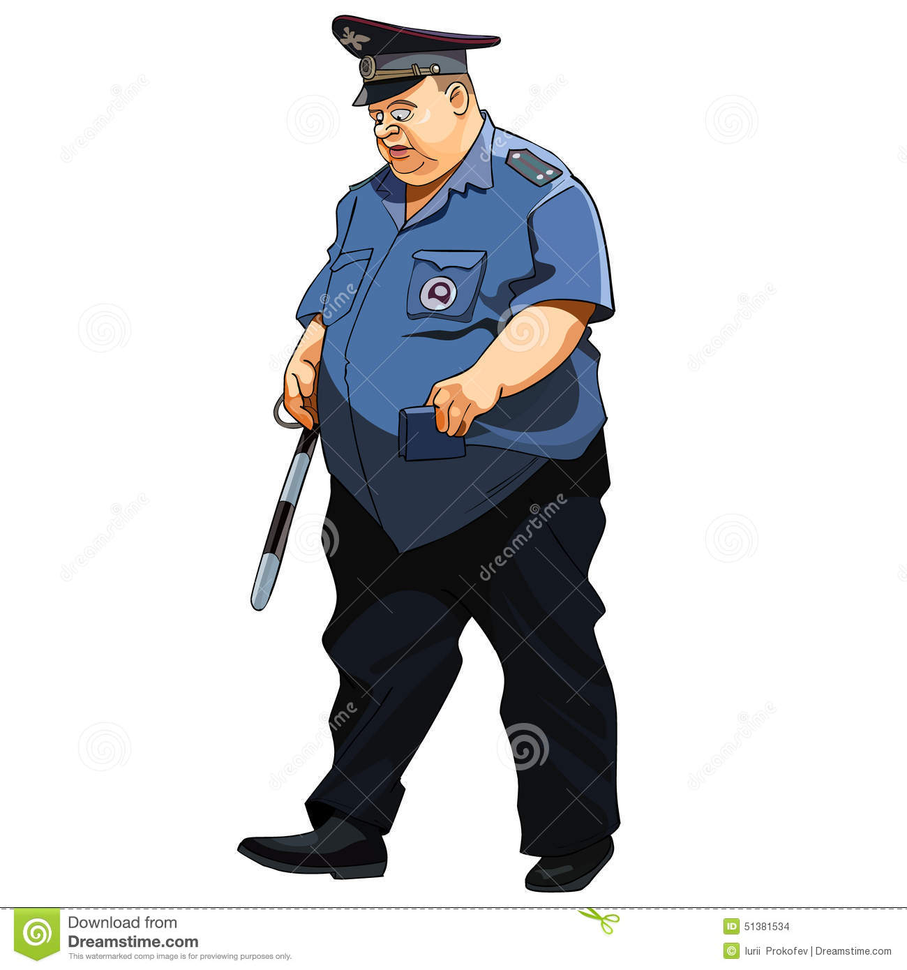 Fat Man In A Police Uniform Traffic Police Stock Vector