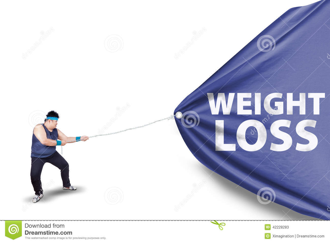 Fat Man Pulling A Weight Loss Banner 2 Stock Image Image Of Large