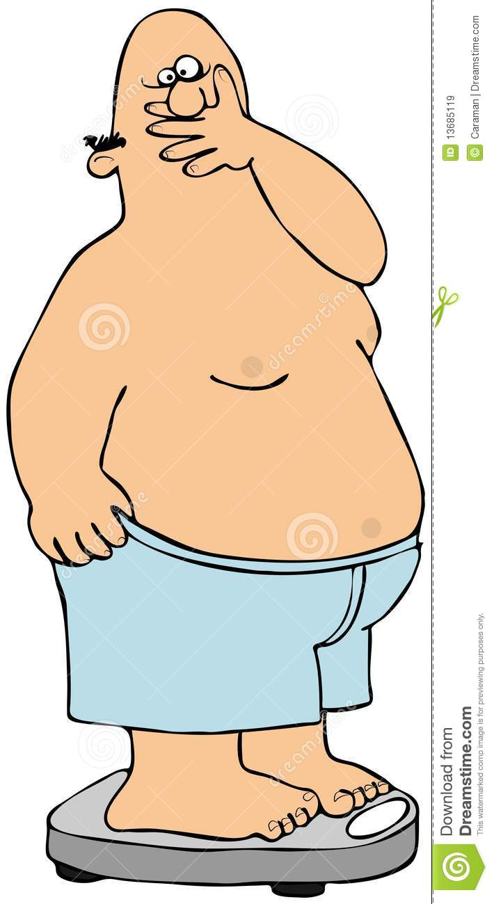This illustration depicts a fat man with a shocked expression standing ...