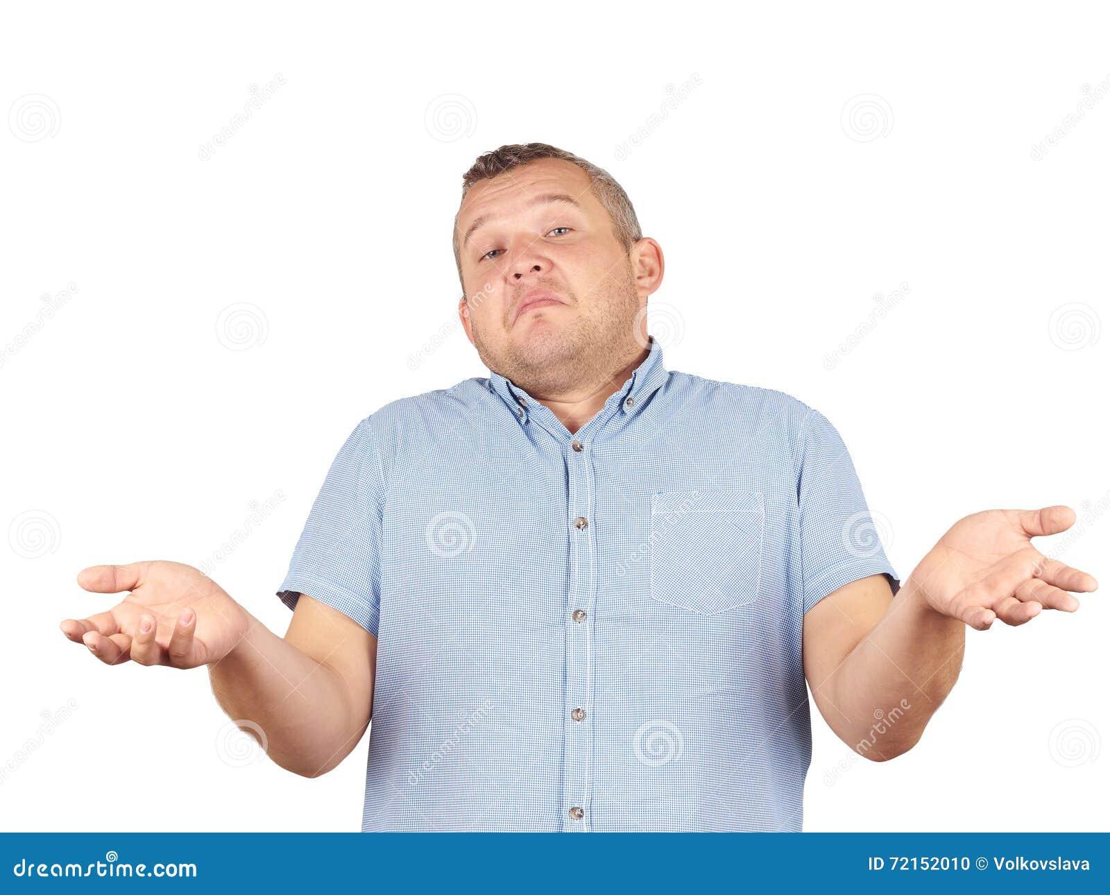 Fat Man Shrugging Shoulders Stock Photo - Image of ...