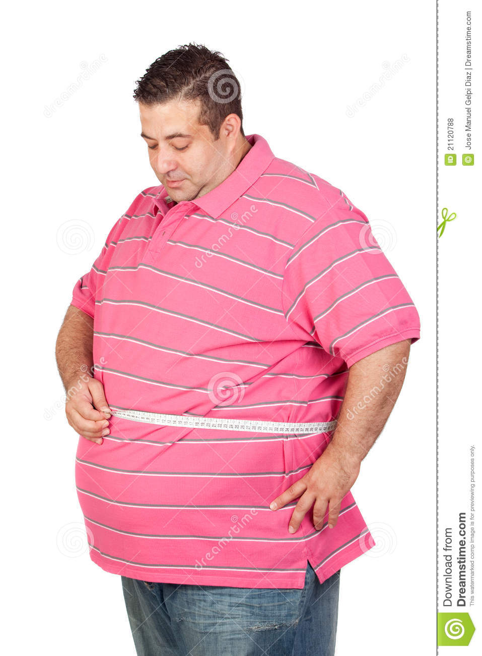 Download Fat Man With A Tape Measure Stock Photo - Image of lifestyle, belly: 21120788