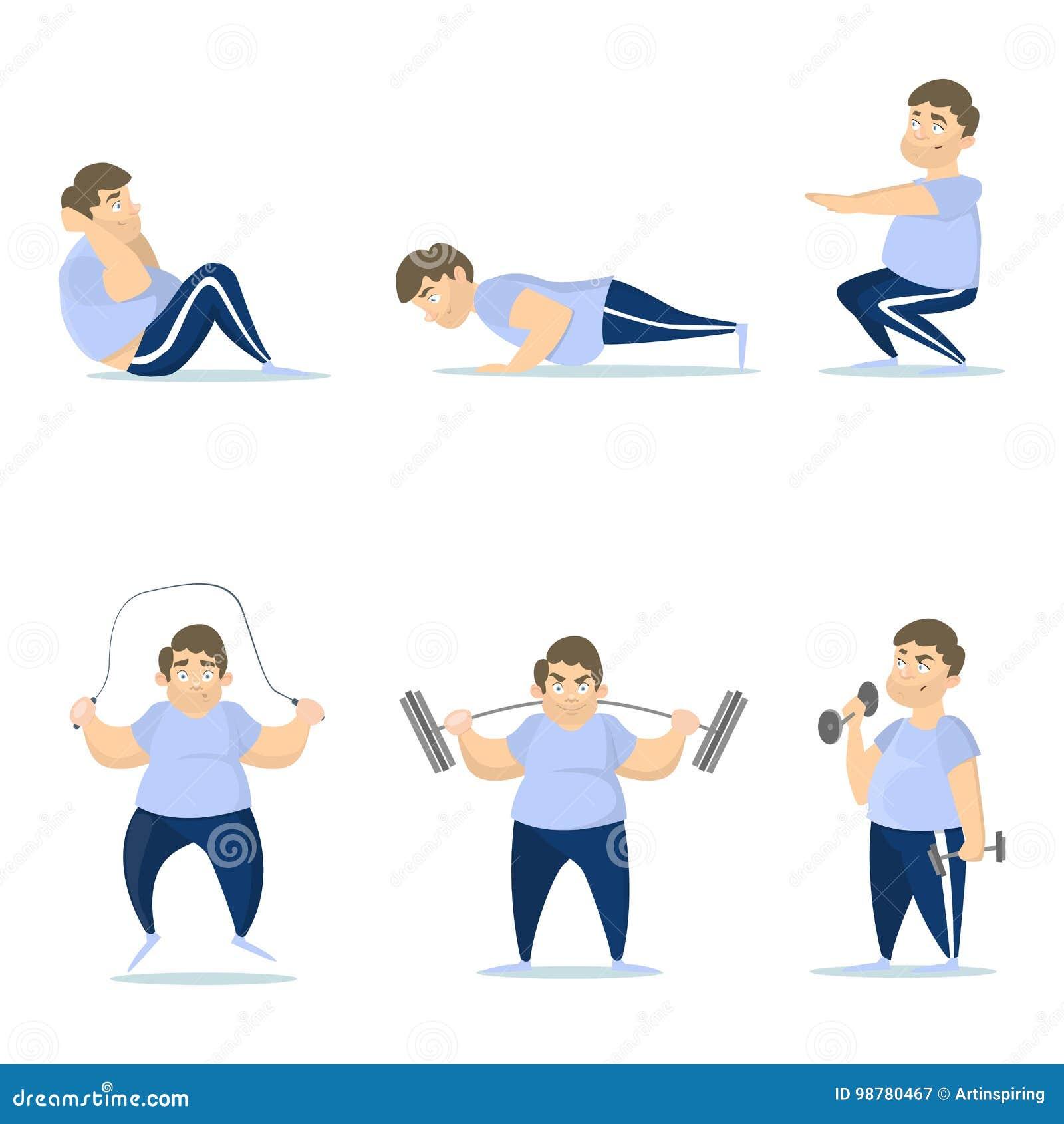 Fat man training  stock vector  Illustration of funny - 98780467