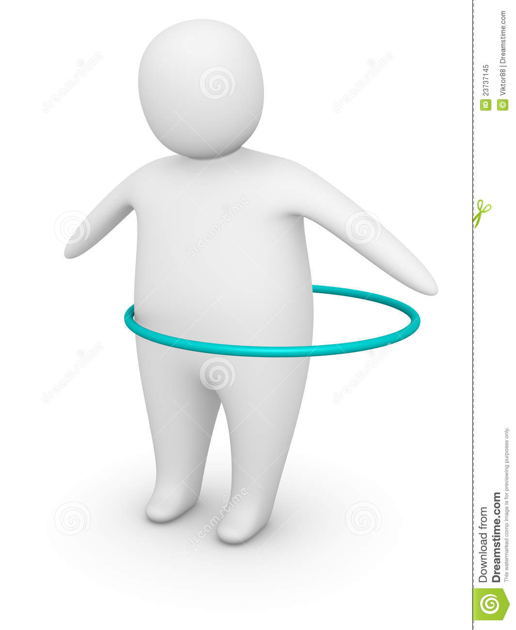 Fat Man Working Out With Hula Hoop Stock Illustration